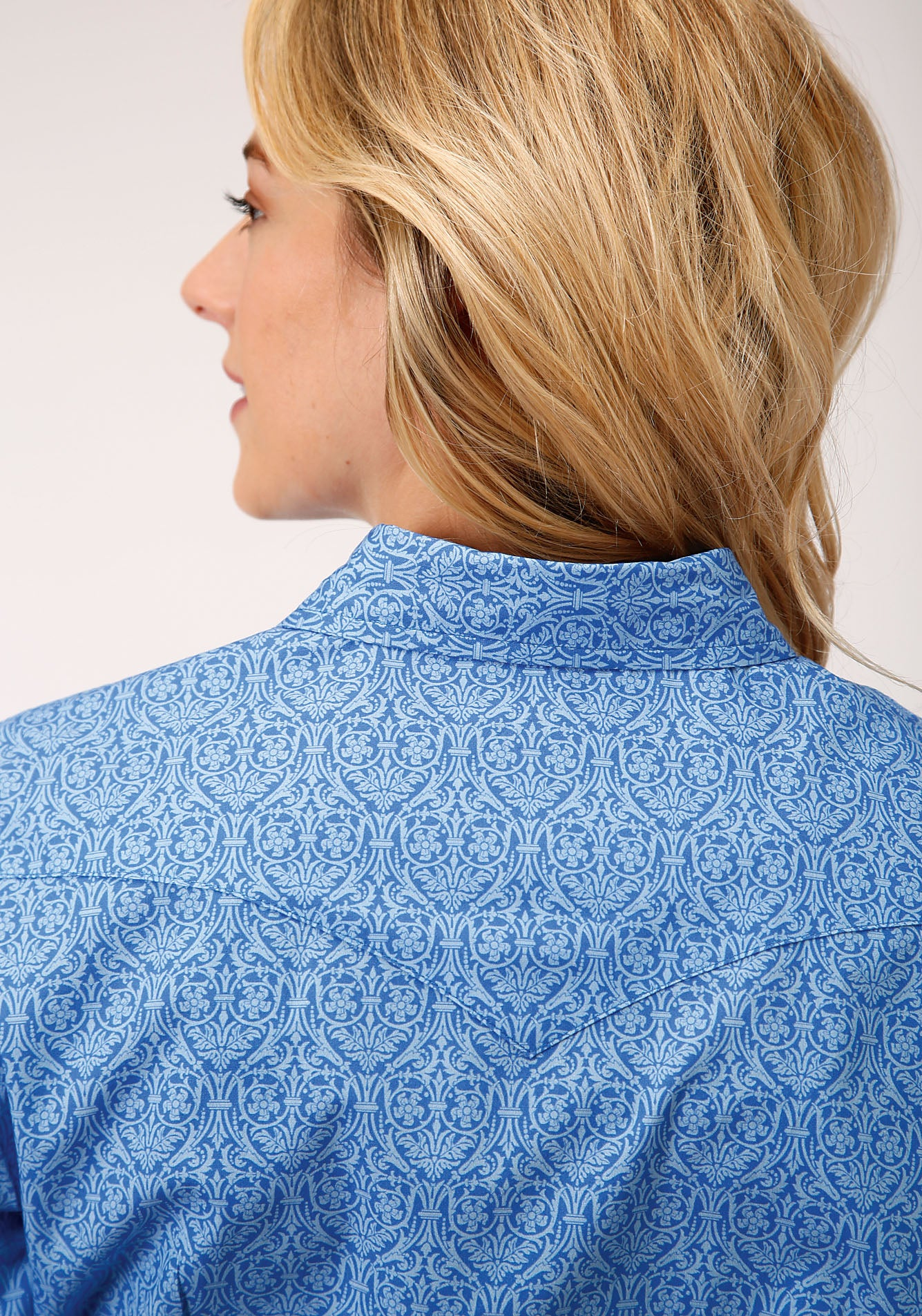 ROPER WOMENS BLUE 00025 WALLPAPER PRINT LADIES AMARILLO COLLECTION- DUSK LONG SLEEVE
