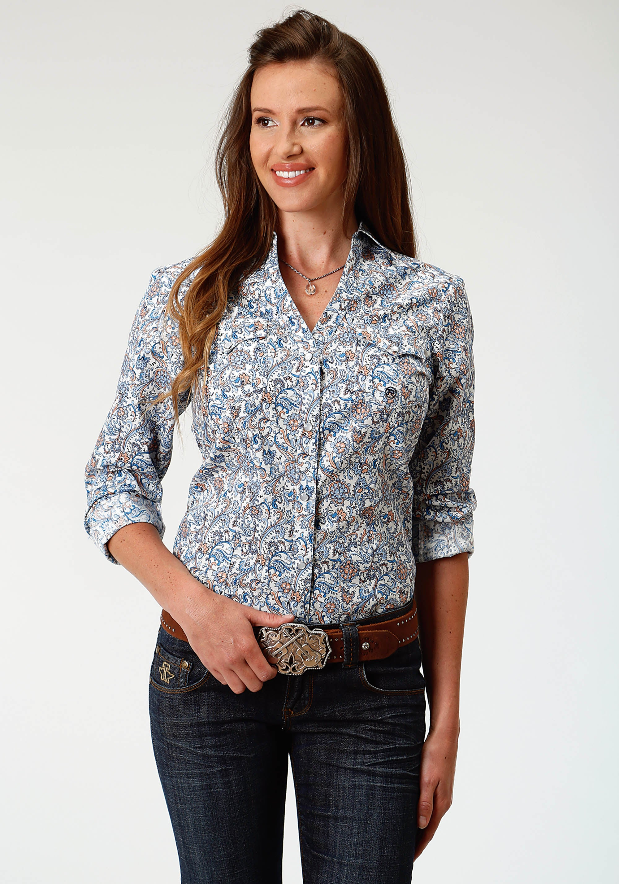 ROPER WOMENS BLUE 3277 SKY PAISLEY LADIES AMARILLO COLLECTION- DAY BREAK LONG SLEEVE