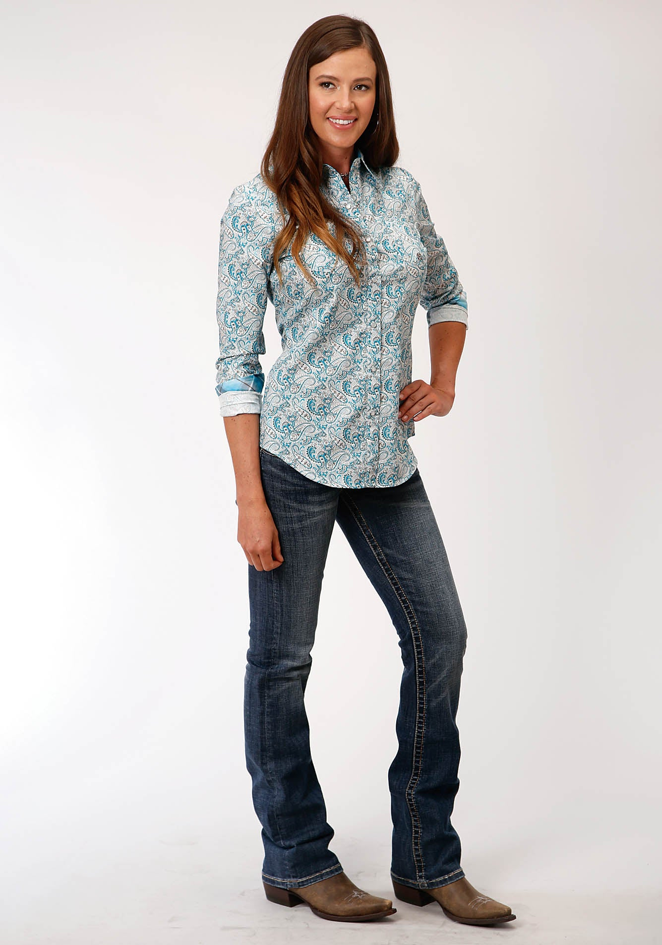 ROPER WOMENS BLUE 00155 TURQ PAISLEY LADIES AMARILLO COLLECTION - DESERT SKY LONG SLEEVE