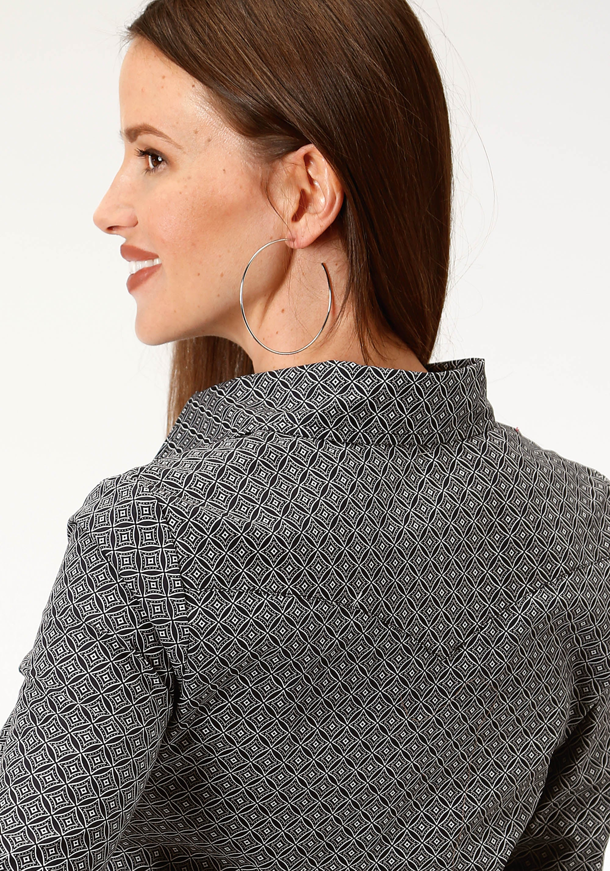 ROPER WOMENS BLACK 9714 DIAMOND CIRLCLES LADIES AMARILLO COLLECTION- CHARCOAL EMBERS LONG SLEEVE