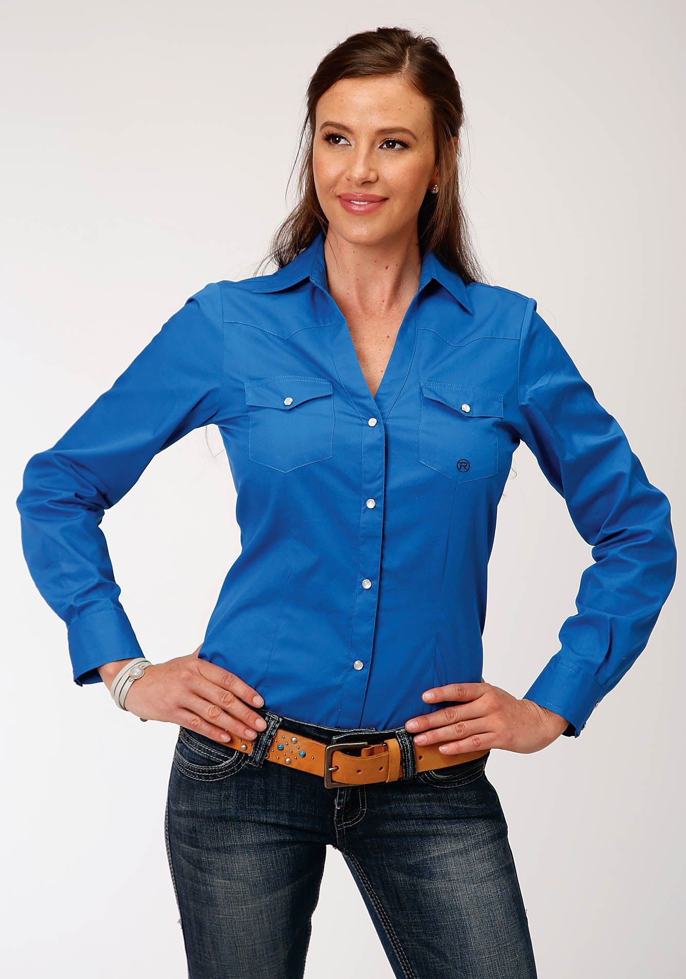 ROPER WOMENS BLUE 00227 SOLID POPLIN - ROYAL LADIES AMARILLO COLLECTION - BLUE RIDGE LONG SLEEVE