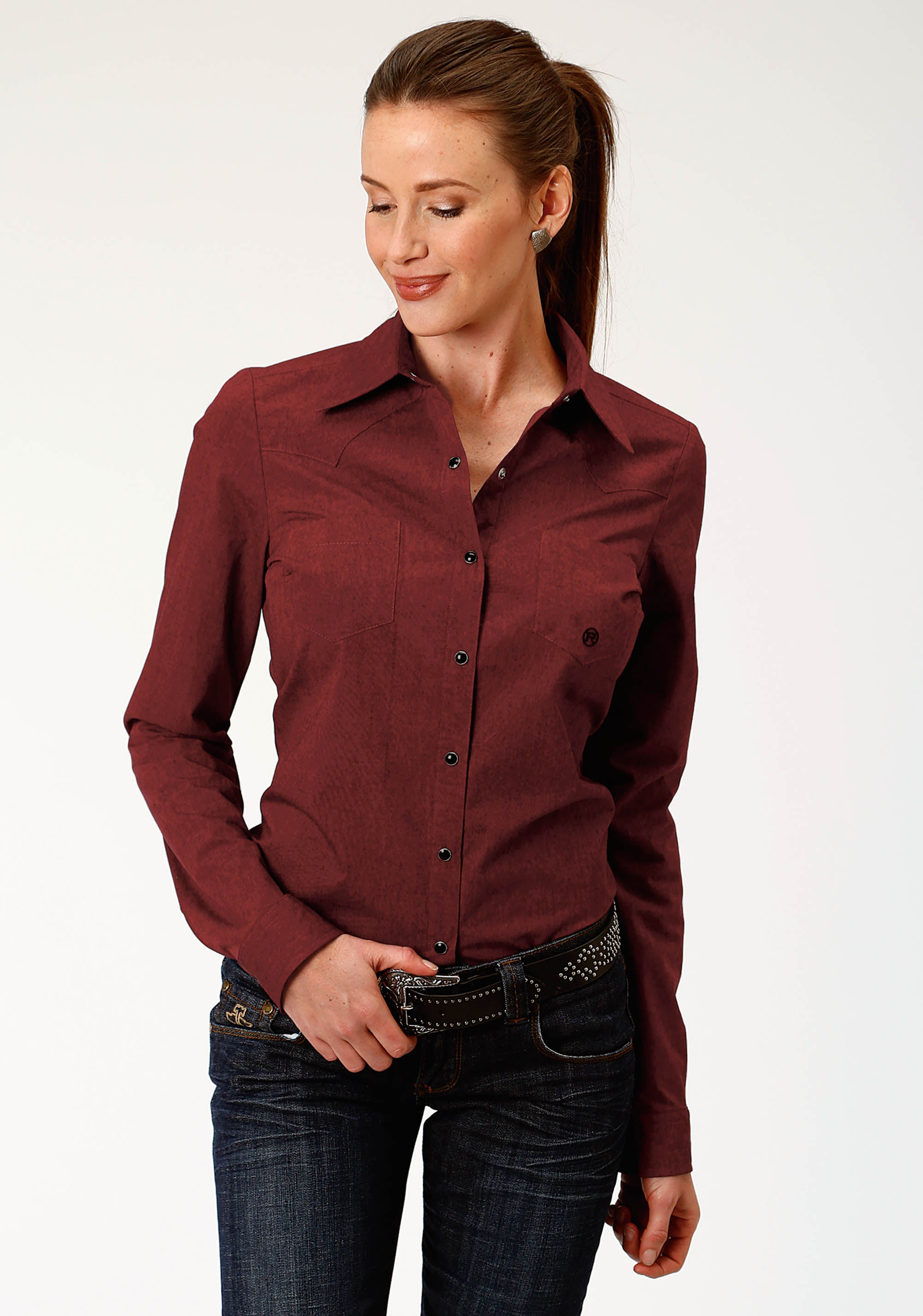 ROPER WOMENS RED 9723 RED BLACK FILL SOLID LADIES AMARILLO COLLECTION- AUTUMN SUNSET LONG SLEEVE