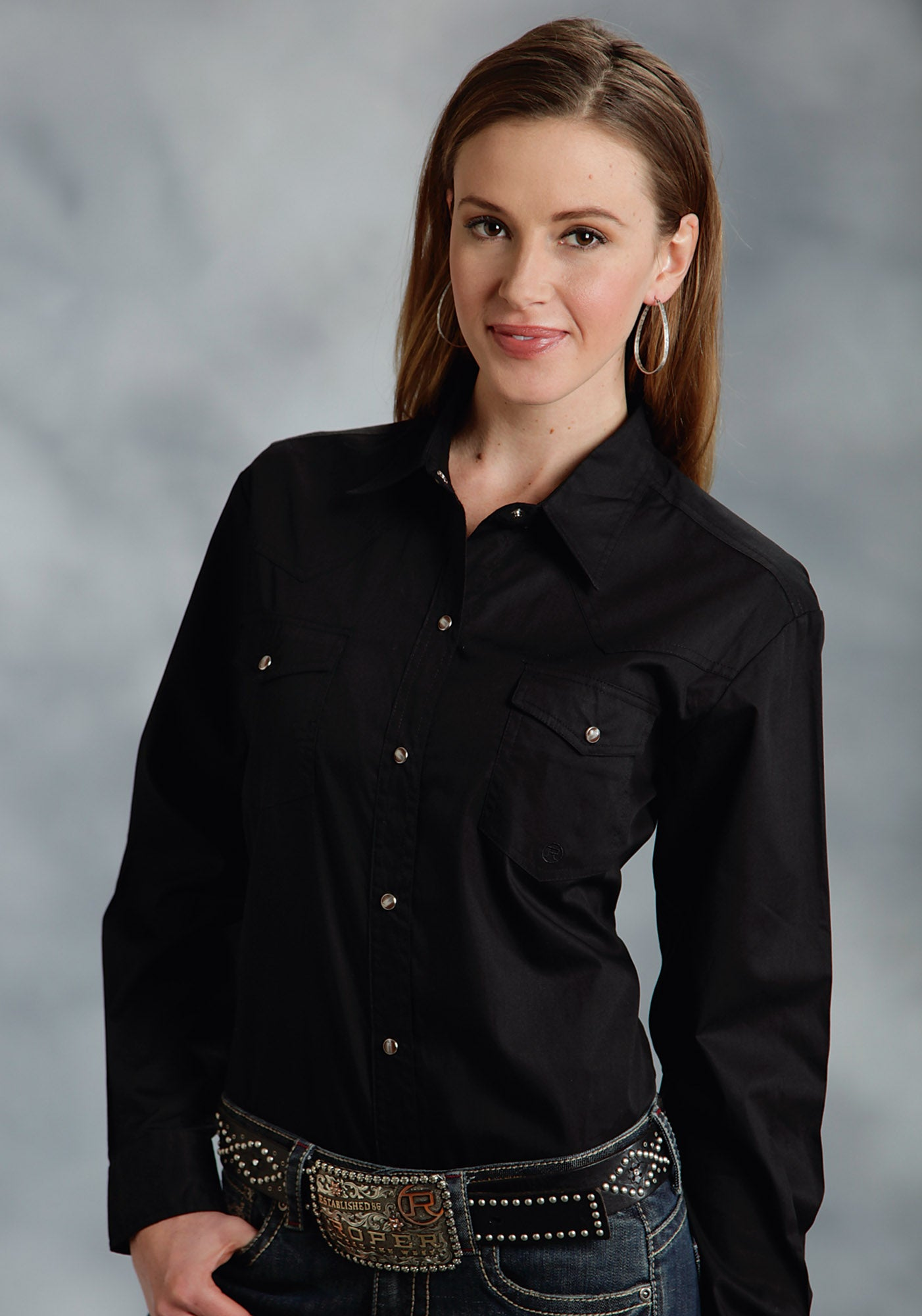 ROPER LADIES BLACK SOLID POPLIN 1PT BACK YOKE VERGTD INSTOCK SOLID POPLIN LONG SLEEVE SHIRT