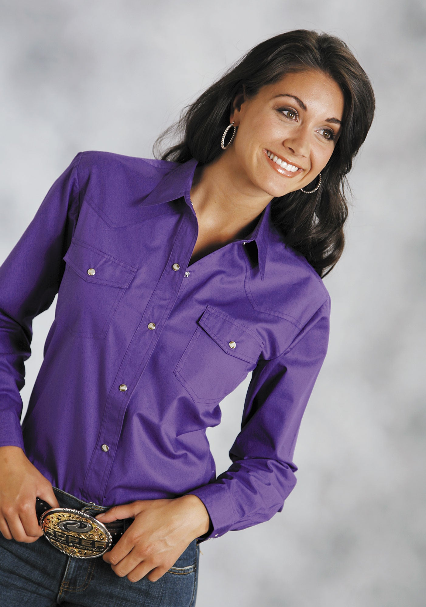 ROPER LADIES PURPLE SOLID POPLIN 1PT BACK YOKE VERGTD SNAP INSTOCK SOLID POPLIN LONG SLEEVE SHIRT