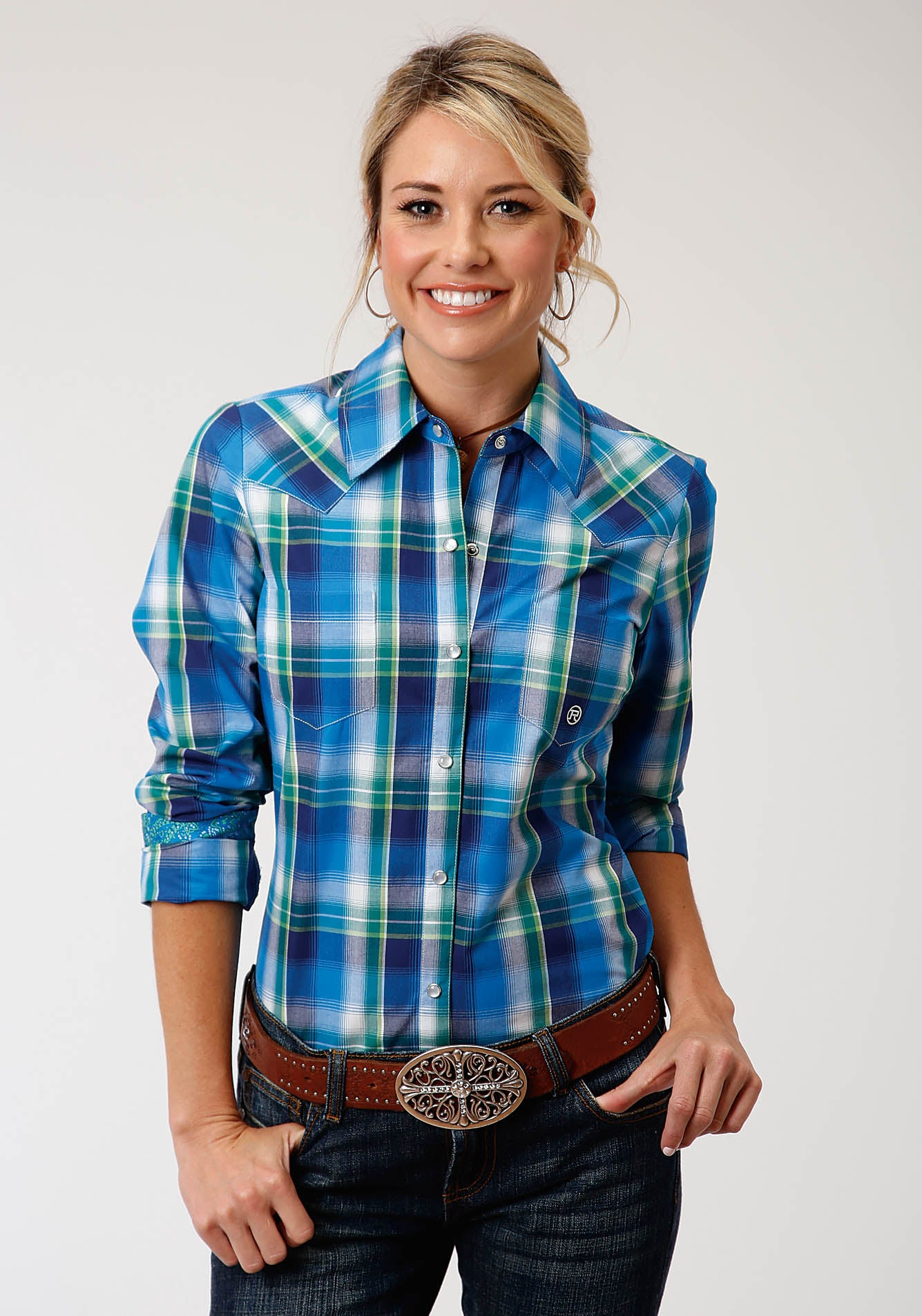 ROPER WOMENS BLUE 00157 WATER PLAID WOMEN'S AMARILLO COLLECTION - BLUE RIDGE LONG SLEEVE