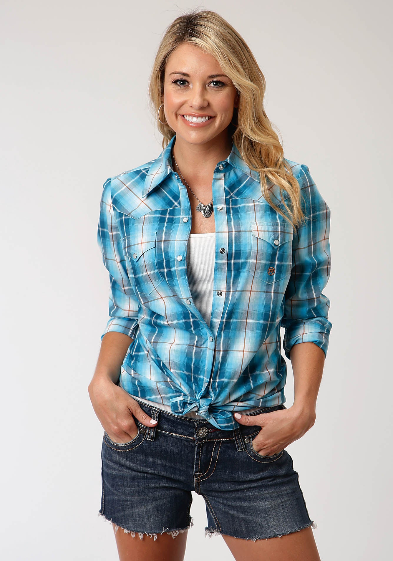 ROPER WOMENS BLUE 00163 BLUE MESA PLAID WOMEN'S AMARILLO COLLECTION - DESERT SKY LONG SLEEVE