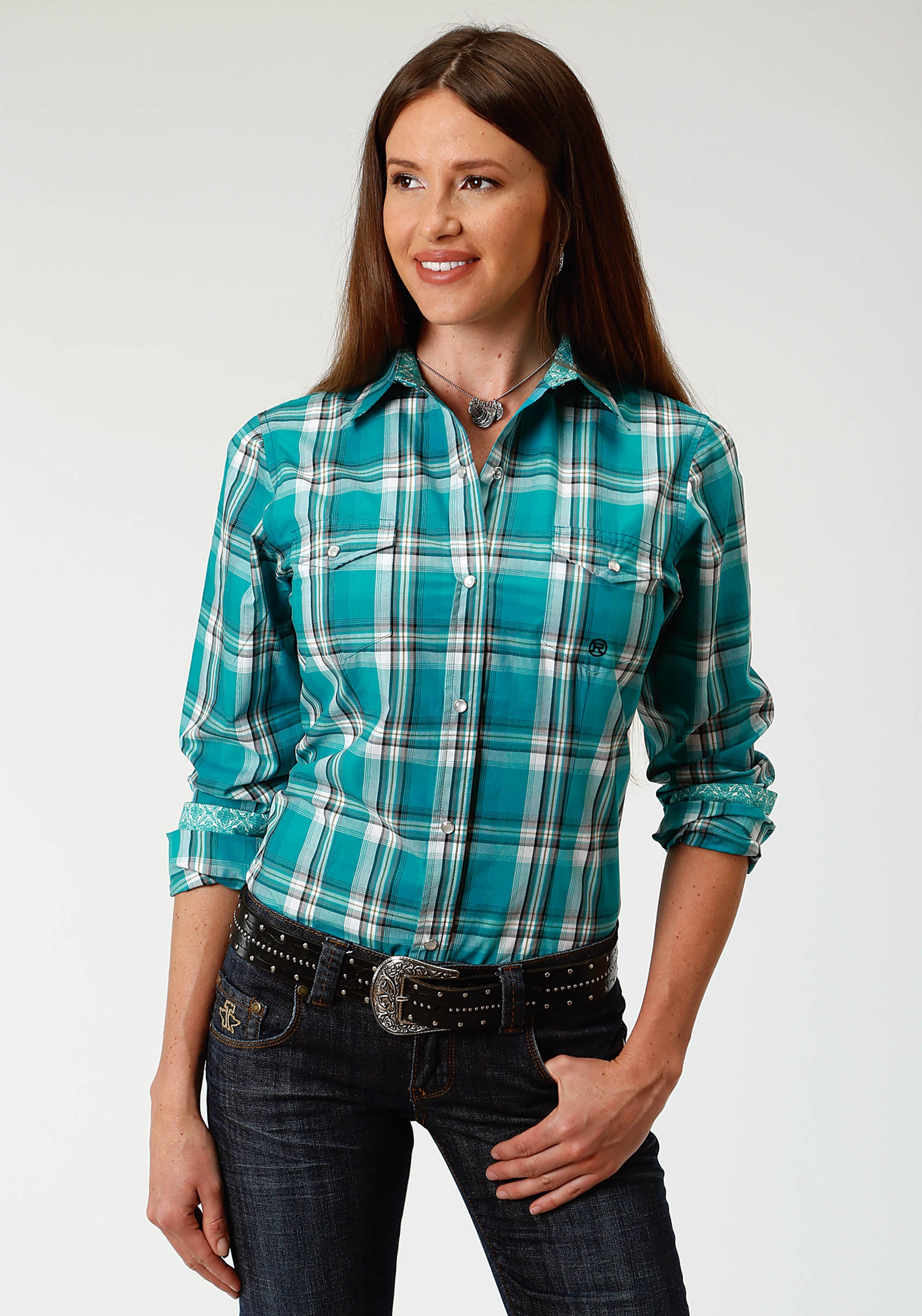ROPER WOMENS GREEN 3335 JADE PLAID LADIES AMARILLO COLLECTION- DEEP SEA LONG SLEEVE
