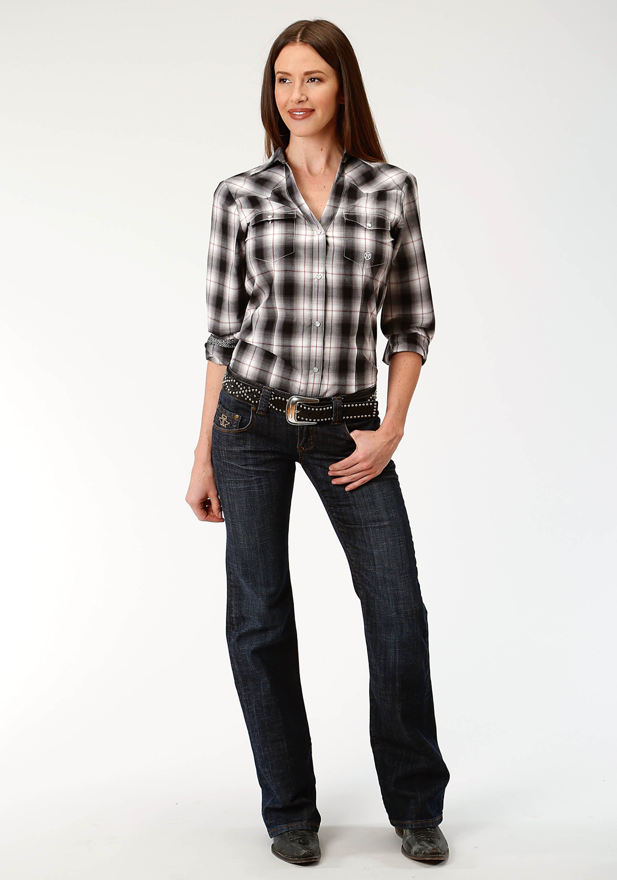 ROPER WOMENS BLACK 9615 VINTAGE PLAID LADIES AMARILLO COLLECTION- CHARCOAL EMBERS LONG SLEEVE