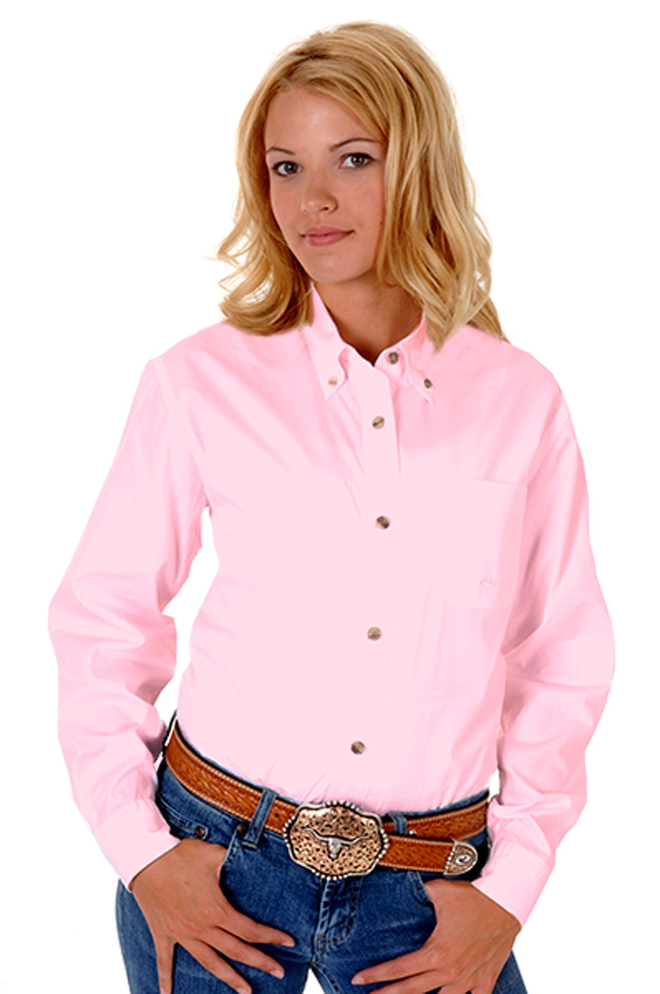 ROPER LADIES PINK SOLID POPLIN BTN DOWN COLLR VERGTD BTN SOLID POPLIN BUTTON COLLECTION LONG SLEEVE SHIRT