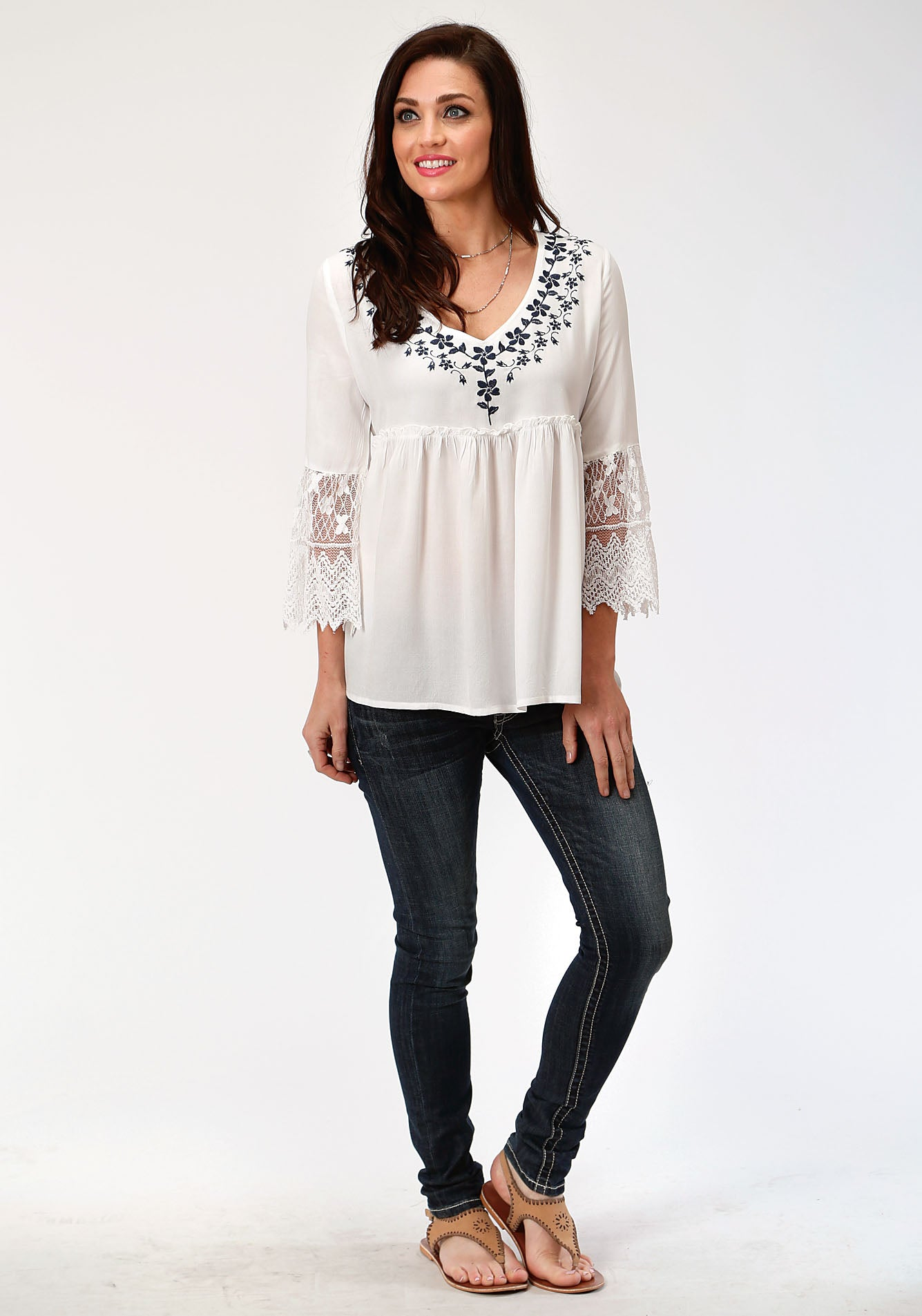 ROPER WOMENS WHITE 00108 RAYON V-NECK PEASANT BLOUSE STUDIO WEST- BLUE BAYOU LONG SLEEVE
