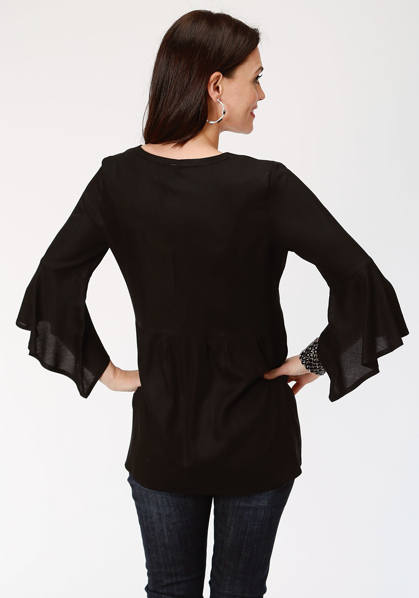 ROPER WOMENS BLACK 00108 RAYON CHALLIS PEASANT BLOUSE STUDIO WEST- SOUTHERN BLOOMS LONG SLEEVE