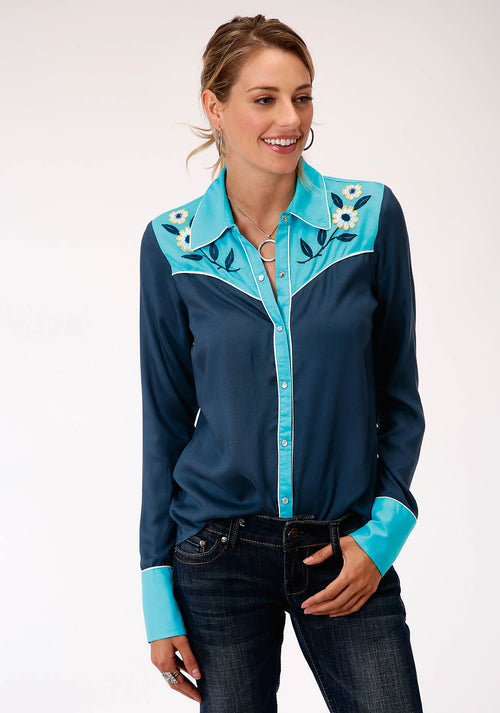 ROPER WOMENS BLUE 00176 RAYON CHALLIS WESTERN SHIRT STUDIO WEST- SUMMER SOLSTICE LONG SLEEVE