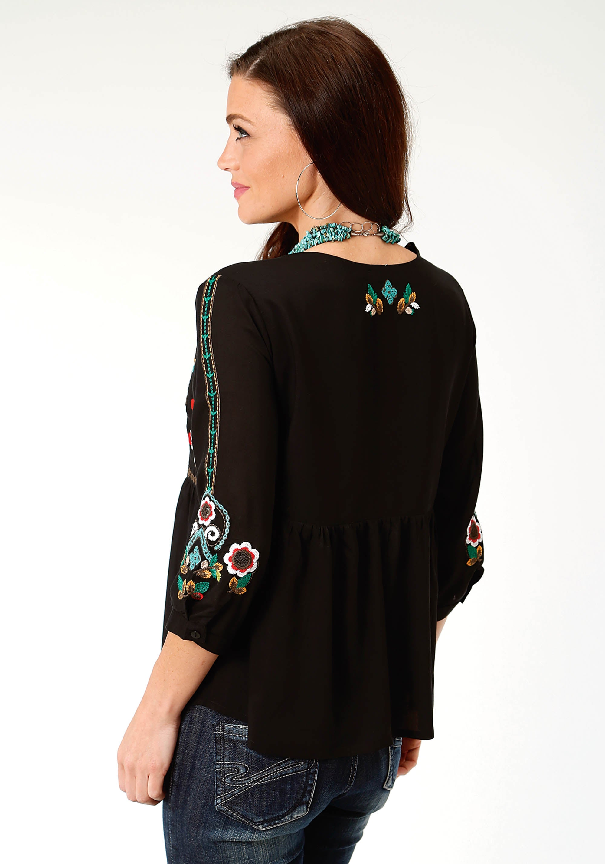 ROPER WOMENS BLACK 3341 RAYON PEASANT BLOUSE STUDIO WEST- MIDNIGHT GARDEN LONG SLEEVE