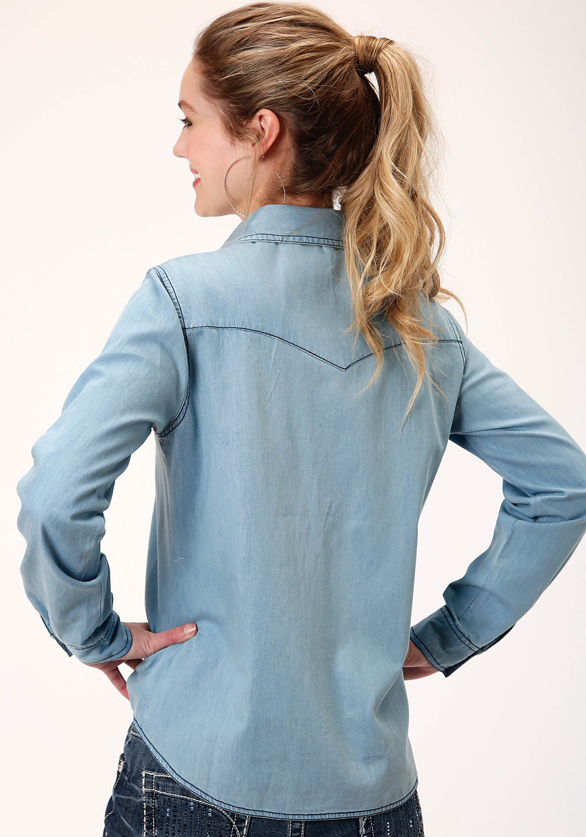FIVE STAR WOMENS BLUE 00360 LT WASH DENIM WESTERN BLOUSE SEASON 3 GROUP 1