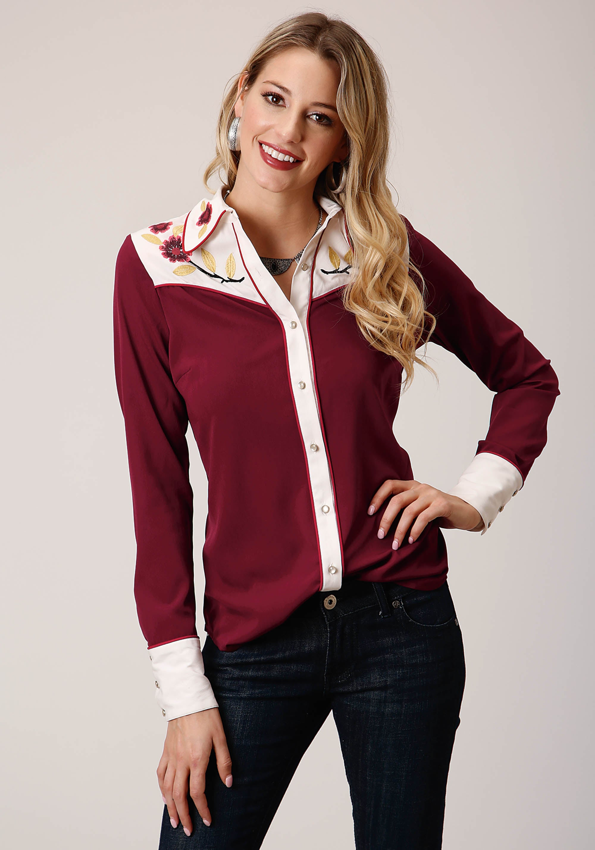 STUDIO WEST WOMENS RED 00379 POLY CREPE WESTERN SHIRT PRAIRIE FIRE