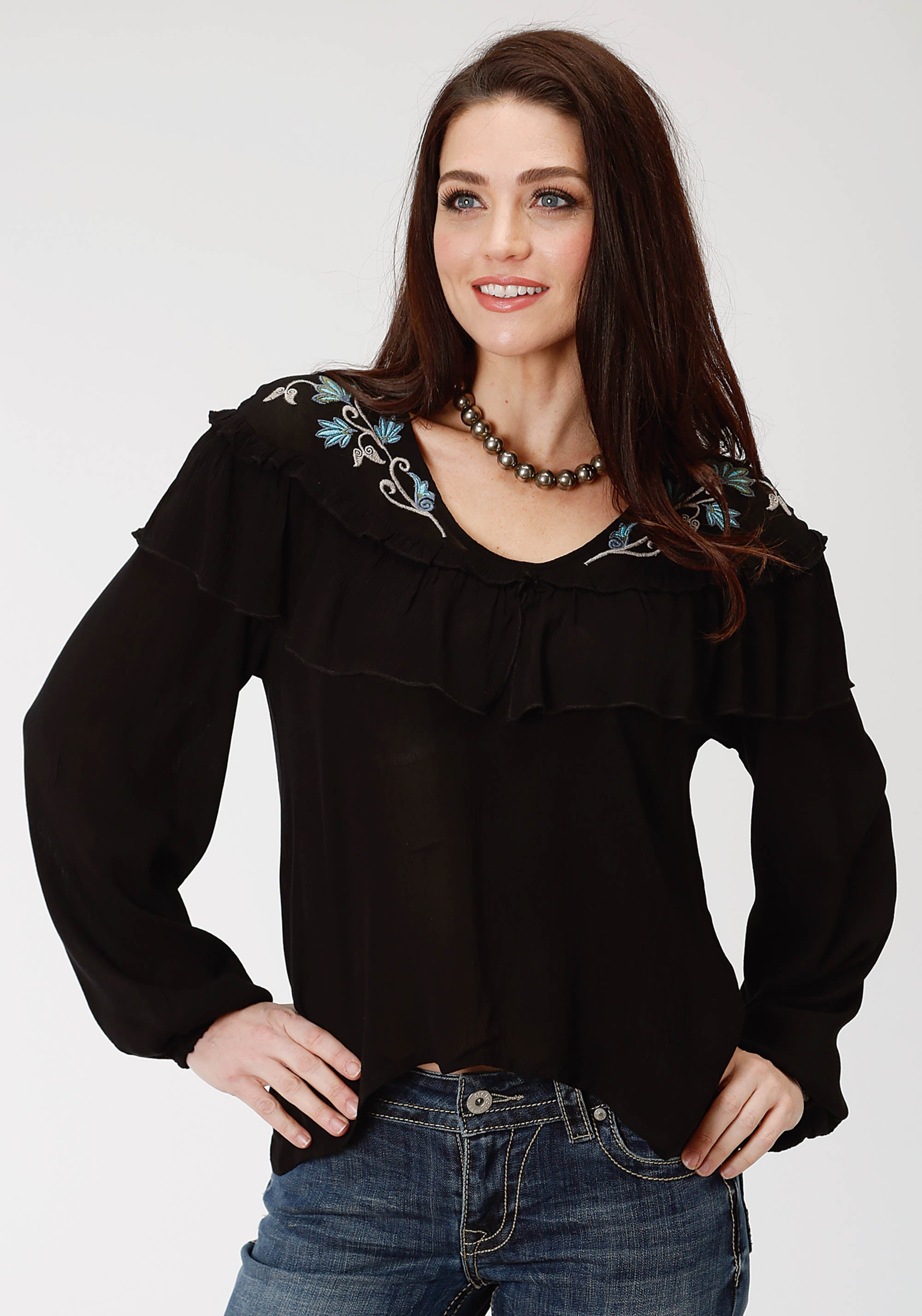 ROPER WOMENS BLACK 9573 RAYON CREPE V-NECK BLOUSE STUDIO WEST COLLECTION- AUTUMN MEADOW LONG SLEEVE