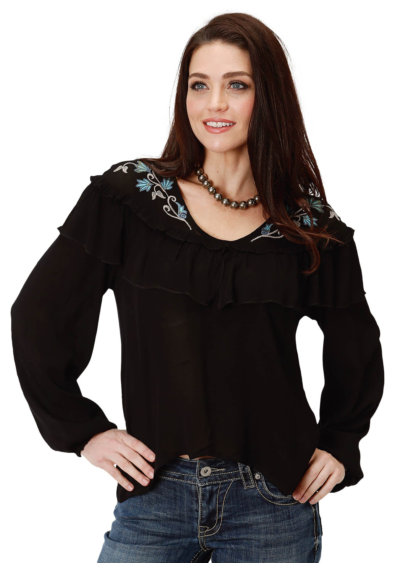 STUDIO WEST WOMENS BLACK 9573 RAYON CREPE V-NECK BLOUSE AUTUMN MEADOW