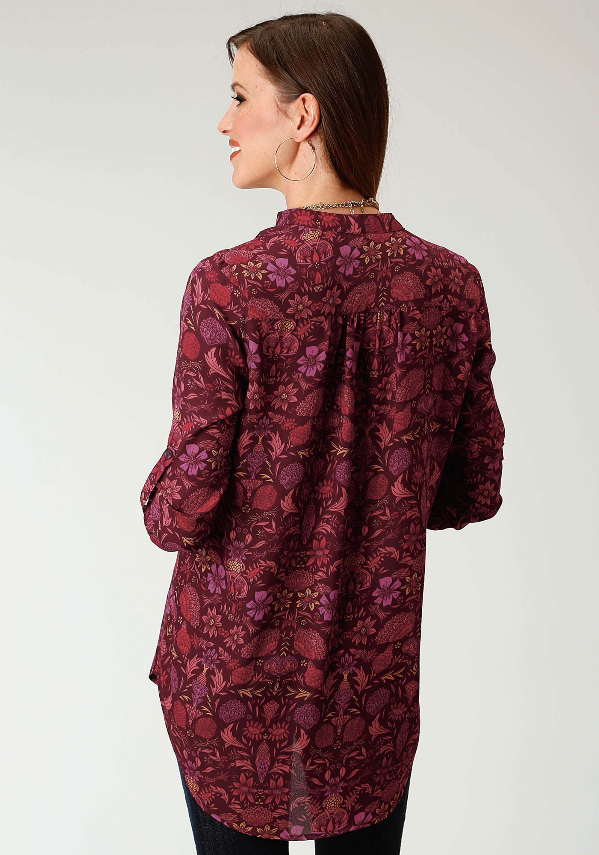 ROPER WOMENS WINE 1841 FLORAL PRT POLY CREPE TUNIC STUDIO WEST- AUTUMN VINEYARD LONG SLEEVE