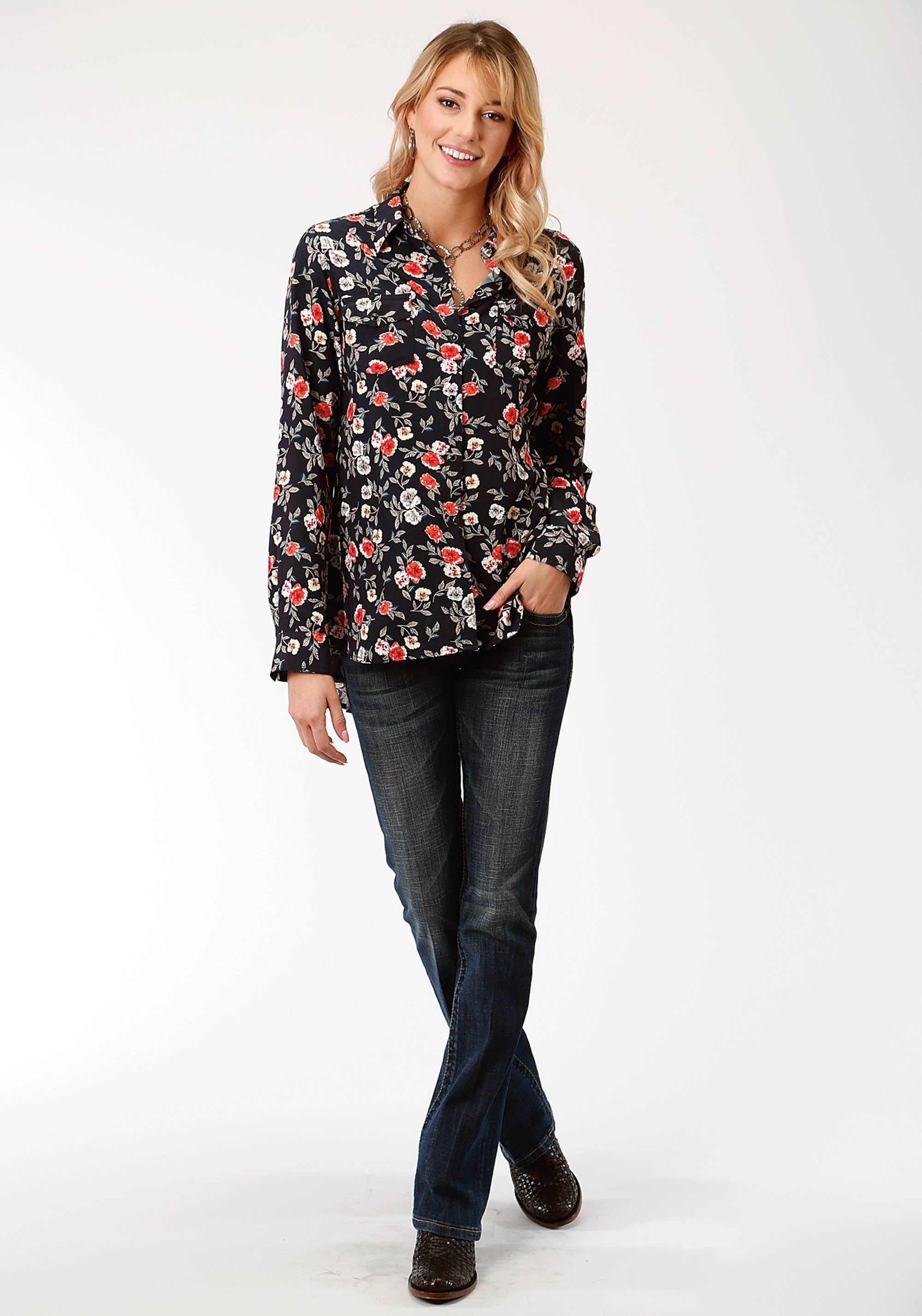 ROPER WOMENS BLACK 6127 FLORAL PRINT RAYON BLOUSE STUDIO WEST- GYPSY ROSES LONG SLEEVE