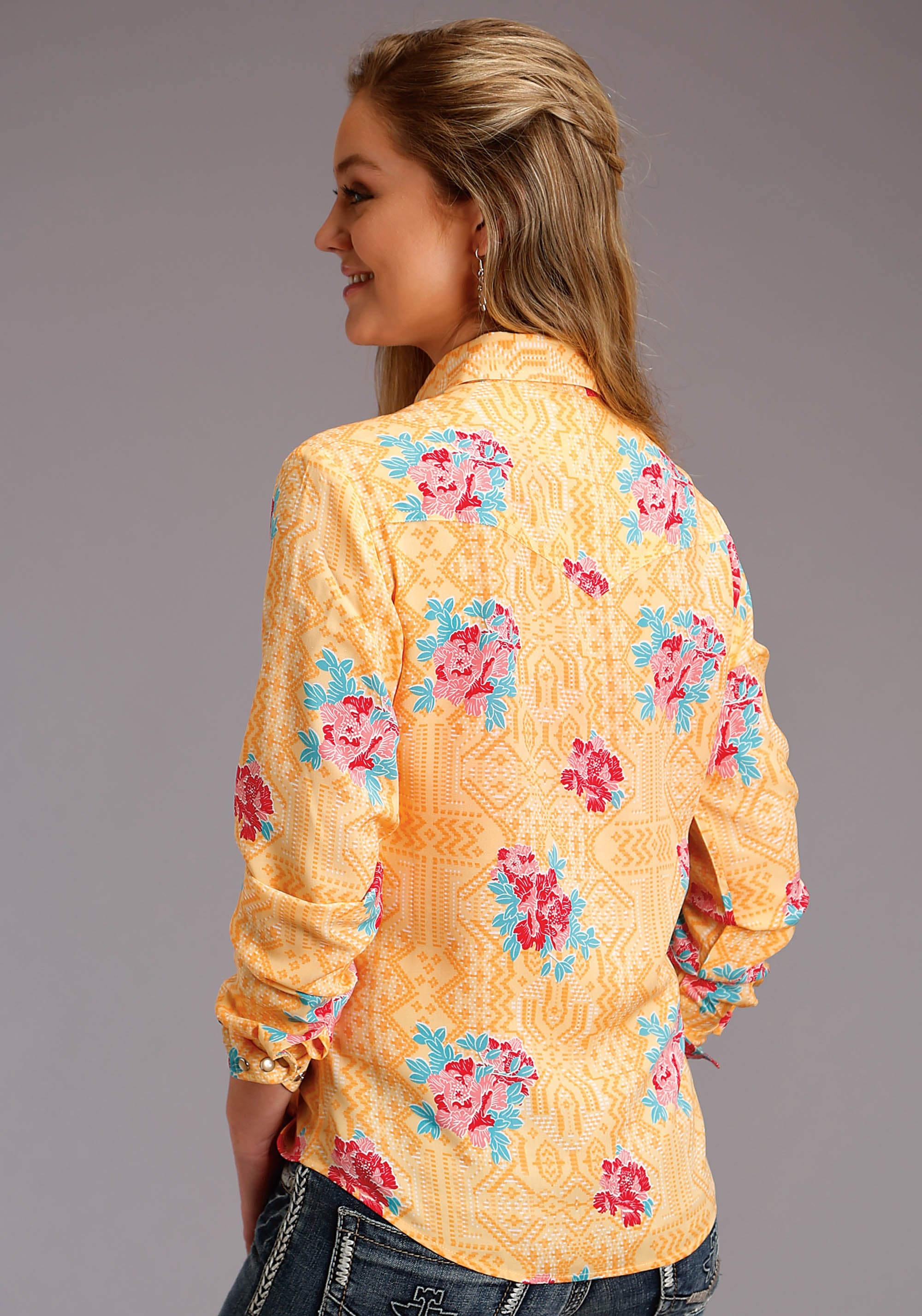 ROPER WOMENS YELLOW 2749 SPRING FLORAL LS WESTERN SHIRT FIVE STAR COLLECTION- SPRING I LONG SLEEVE