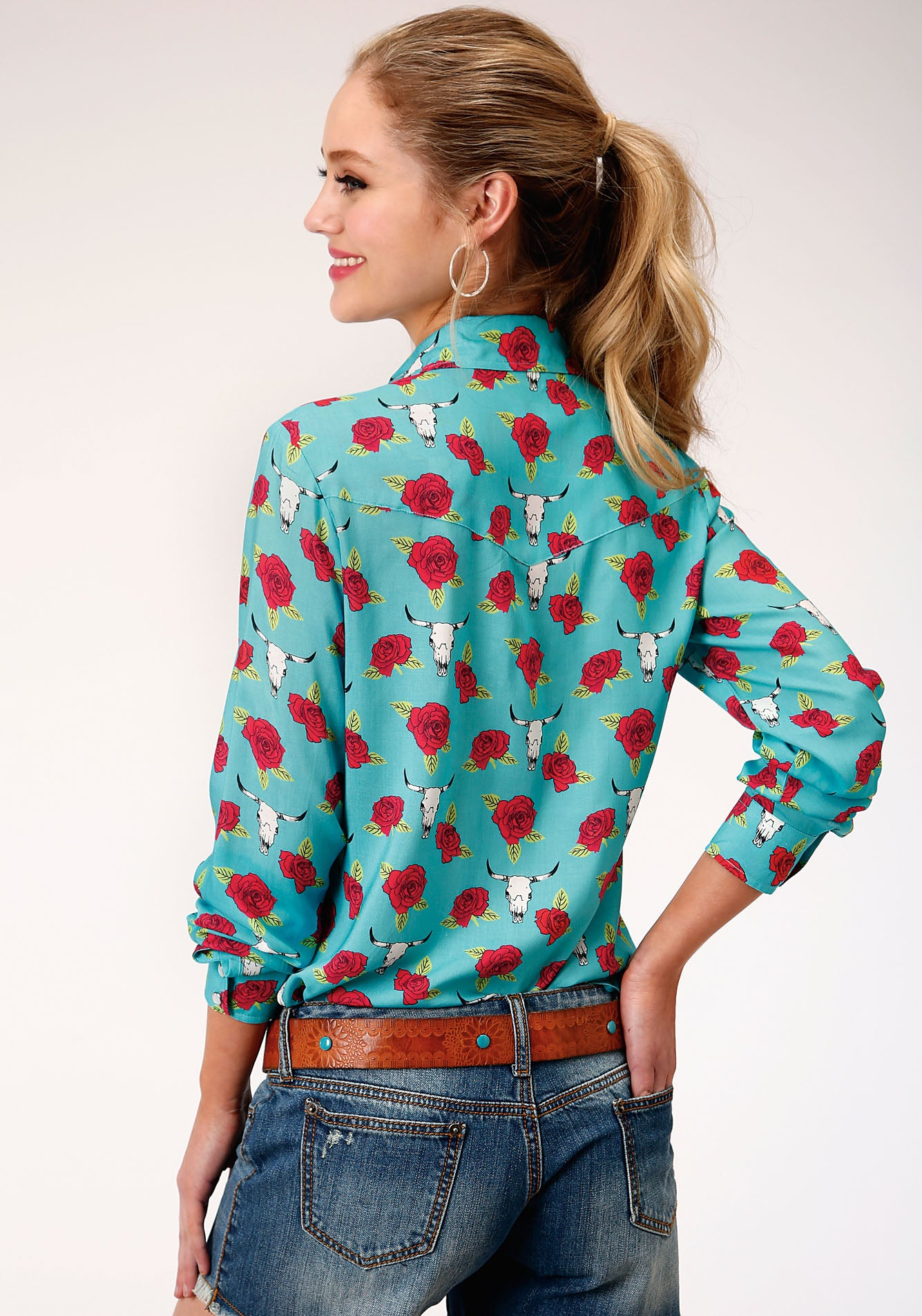ROPER WOMENS BLUE 00119 PRINTED RAYON LS WESTERN BLOUSE FIVE STAR COLLECTION- SPRING III LONG SLEEVE