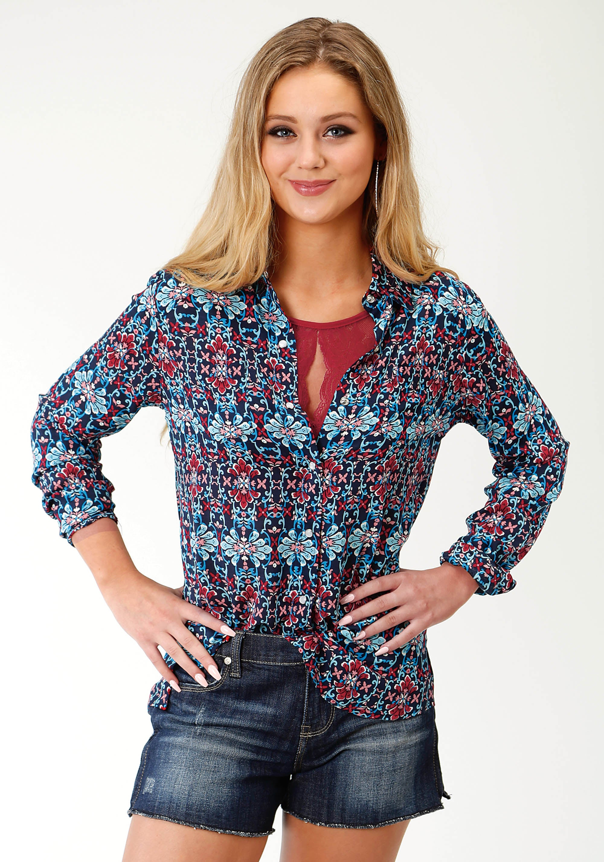 ROPER WOMENS BLUE 2754 SUNSET TAPESTRY FIVE STAR COLLECTION- SPRING III LONG SLEEVE