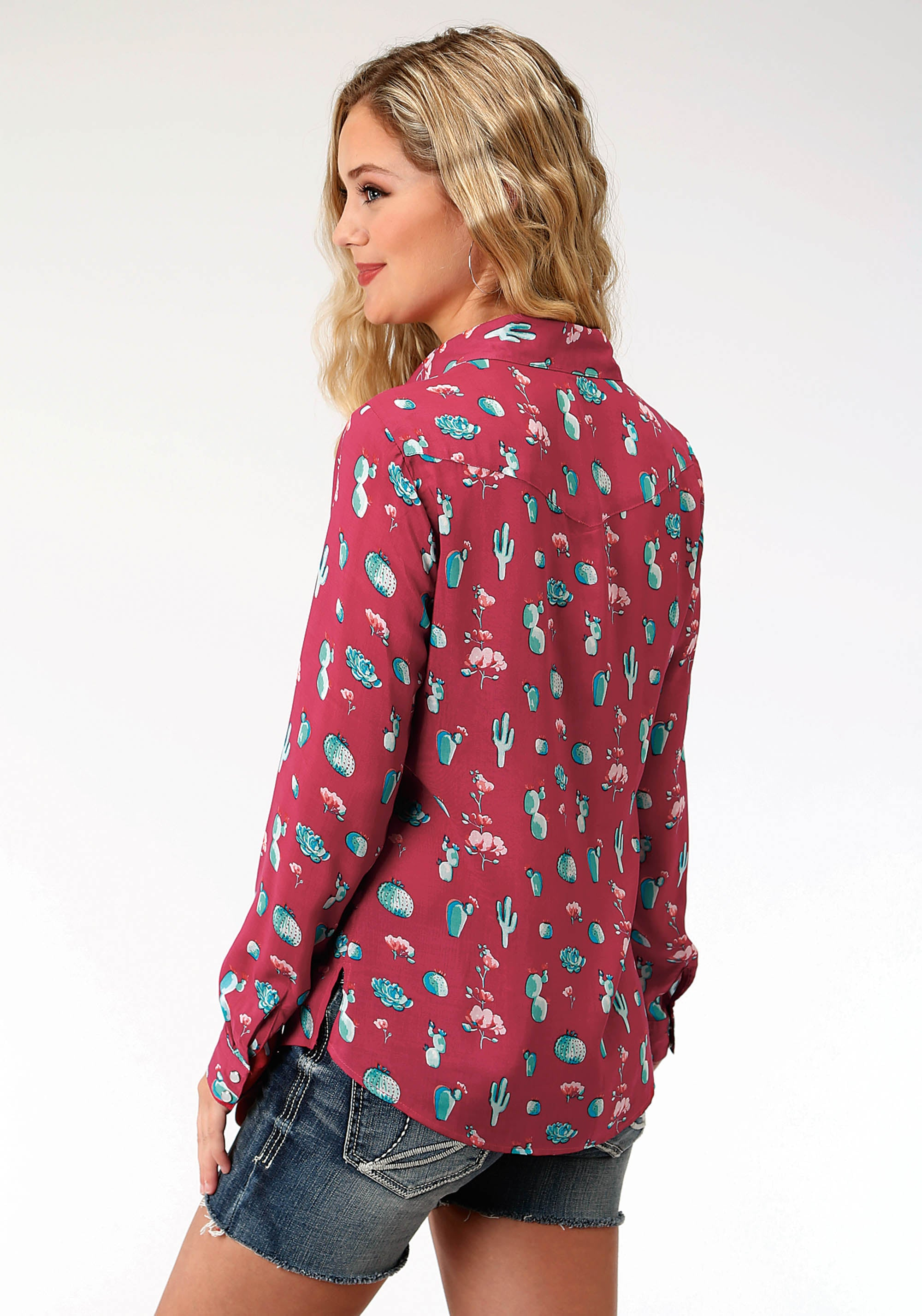 ROPER WOMENS RED 7554 PRINTED RAYON LS WESTERN SHIRT FIVE STAR COLLECTION- SUMMER III LONG SLEEVE