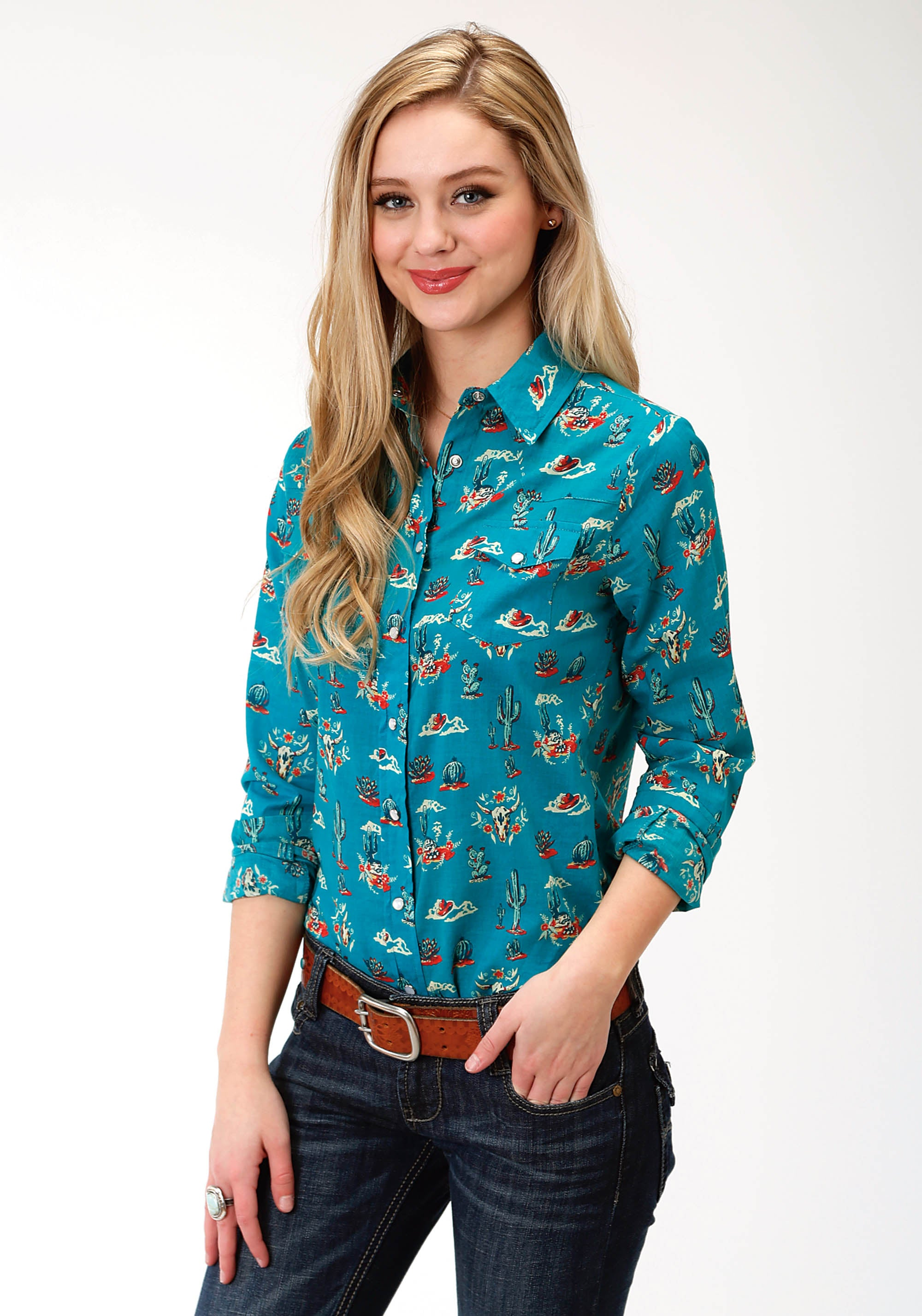 ROPER WOMENS BLUE 9870 PRINTED RAYON WESTERN BLOUSE FIVE STAR COLLECTION- FALL I LONG SLEEVE