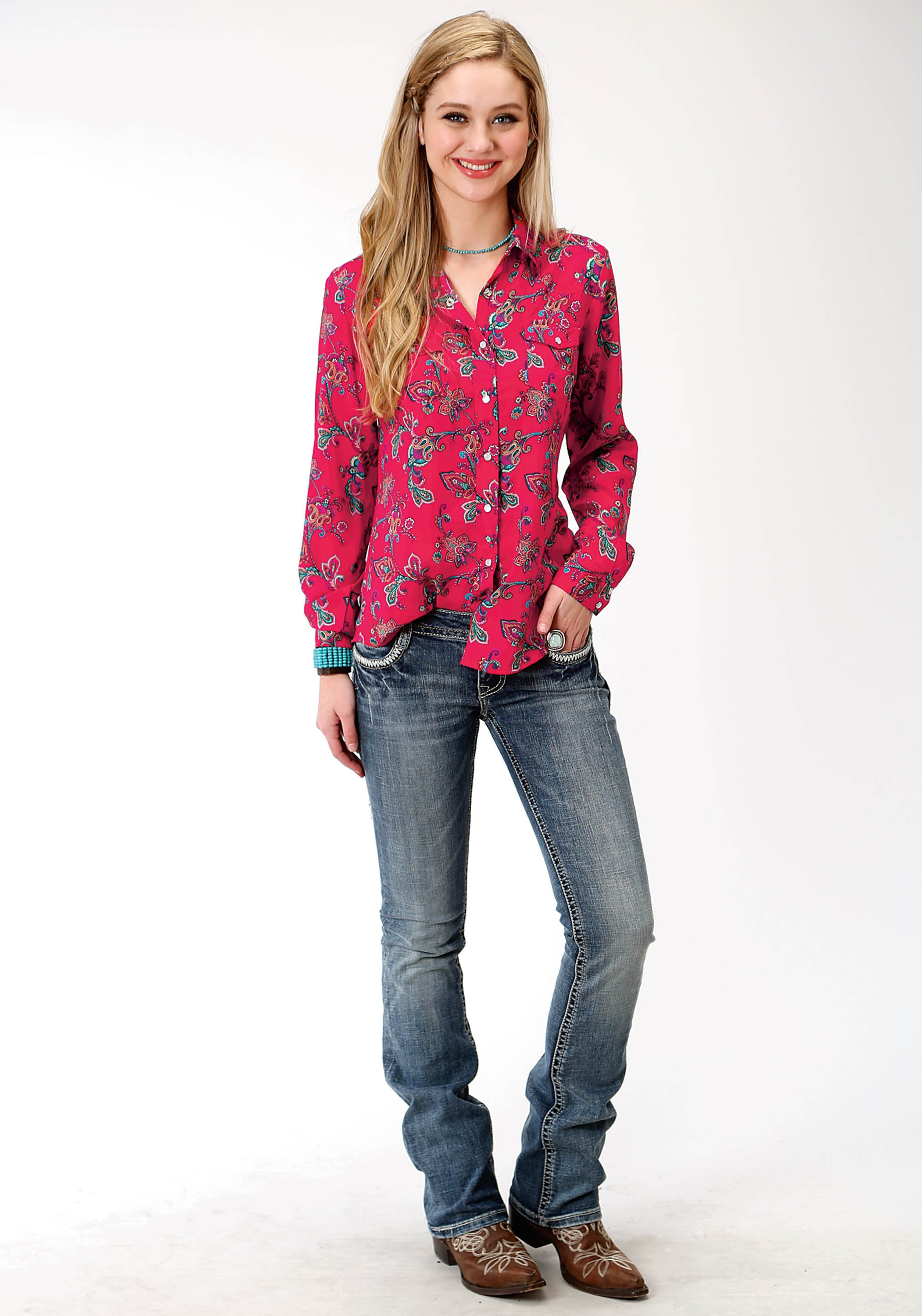 ROPER WOMENS RED 9889 RED PAISLEY LS WESTERN BLOUSE FIVE STAR COLLECTION- FALL II LONG SLEEVE