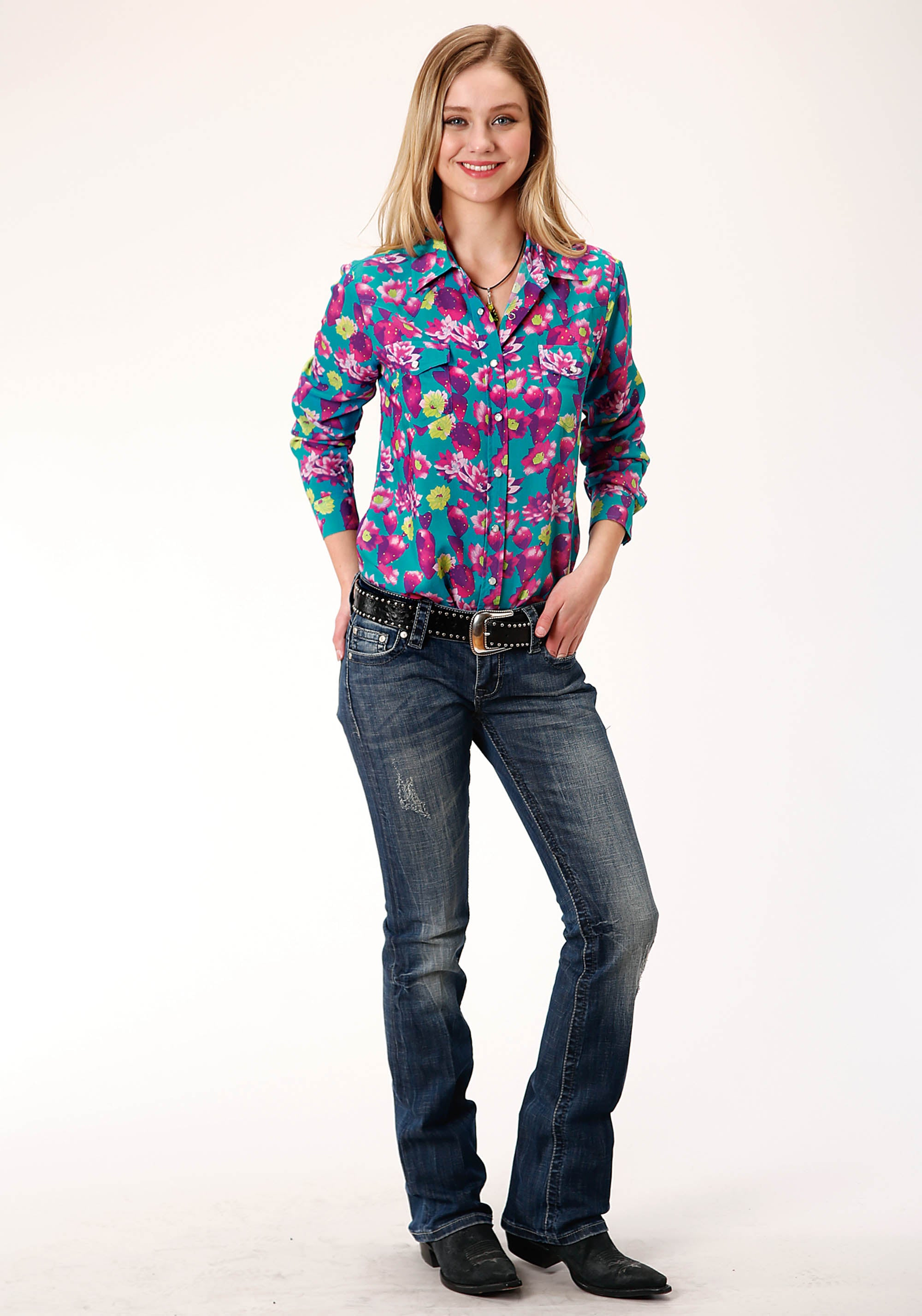 ROPER WOMENS BLUE 00336 CACTUS PRT RAYON WESTERN BLOUSE FIVE STAR COLLECTION- FALL I LONG SLEEVE