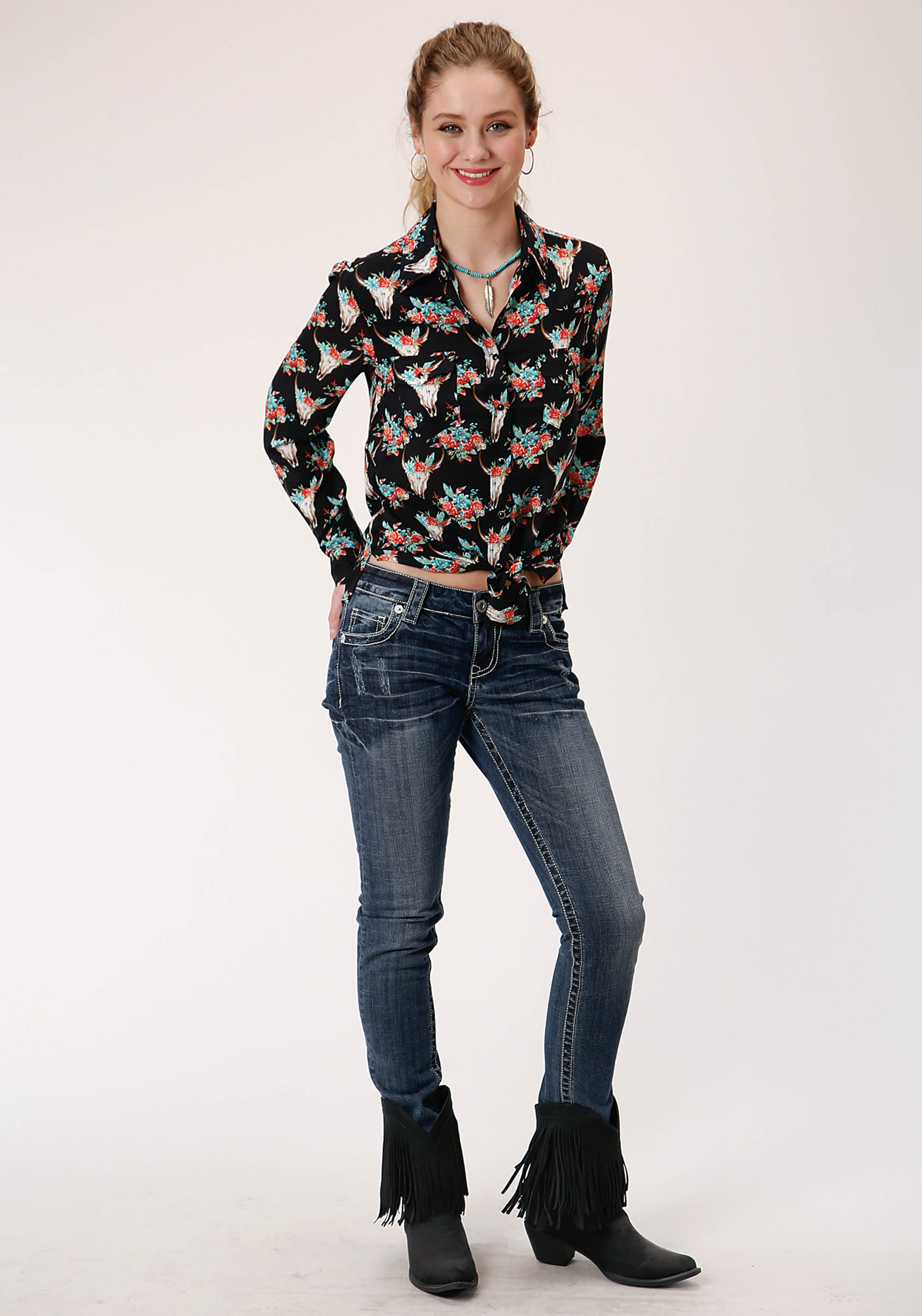 ROPER WOMENS BLACK 00335 FLORAL SKULLS PRT RAYON SHIRT FIVE STAR COLLECTION- FALL II LONG SLEEVE