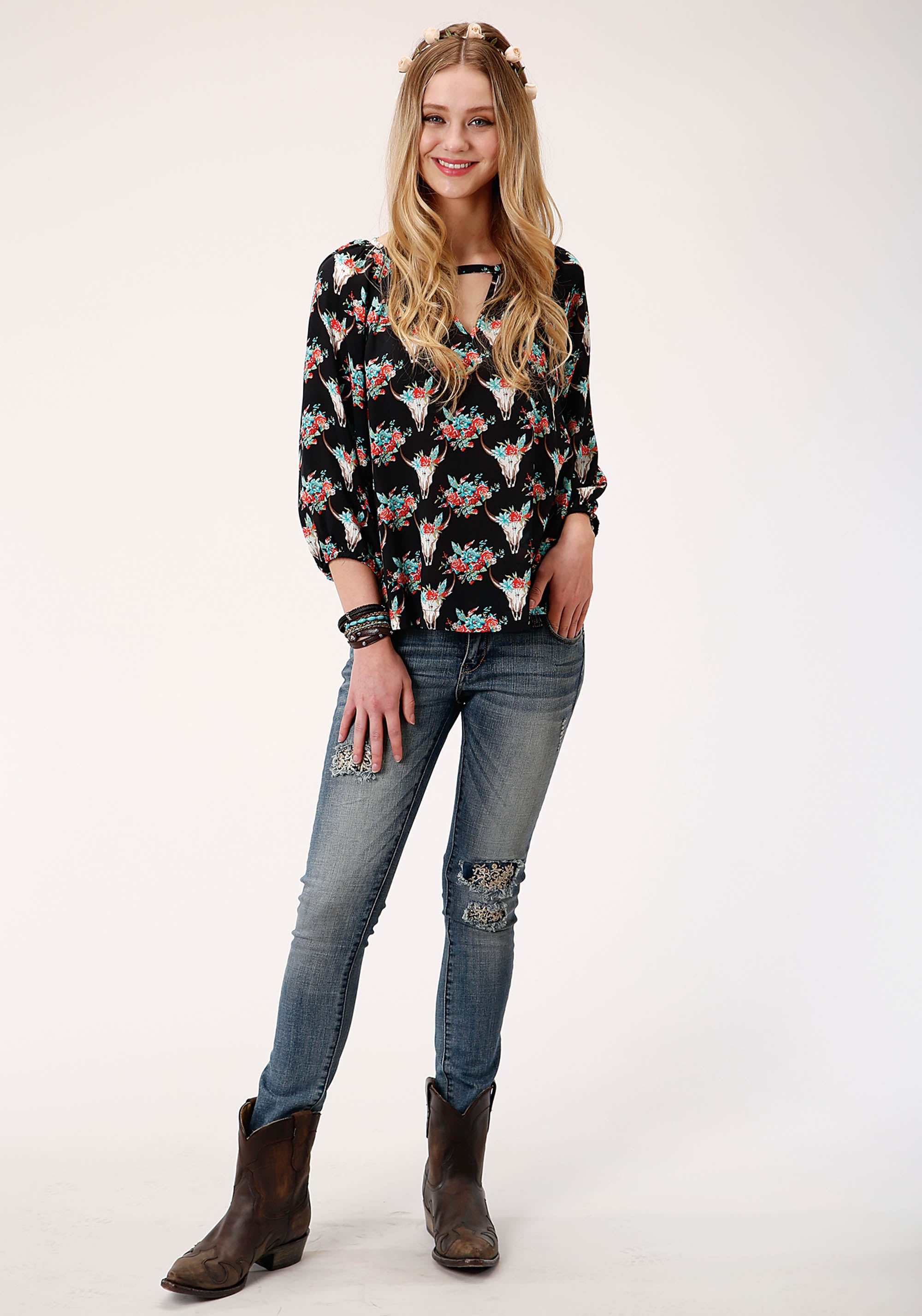 ROPER WOMENS BLACK 00335 FLORAL SKULLS PRT RAYON BLOUSE FIVE STAR COLLECTION- FALL II LONG SLEEVE