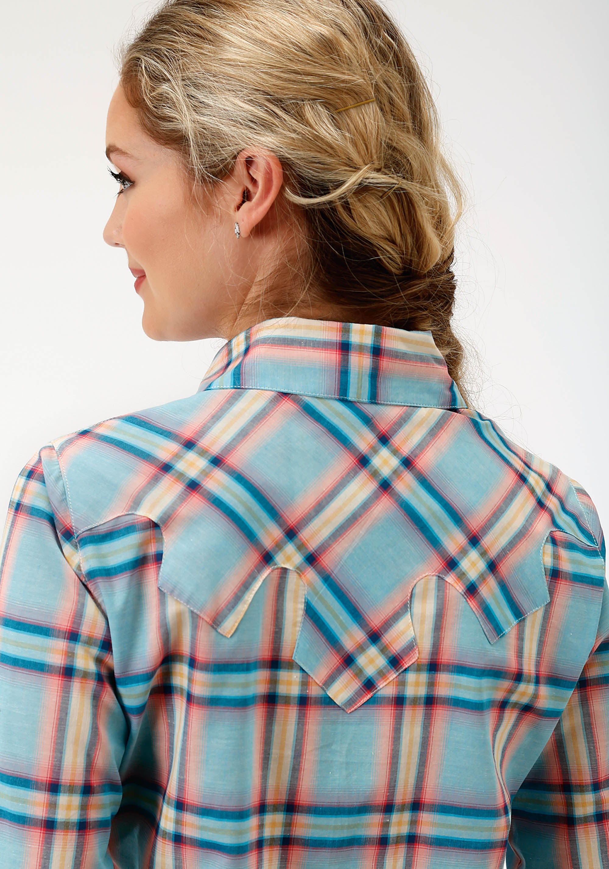 ROPER WOMENS BLUE 6576 CORAL GLOW PLAID LS WESTERN SHIRT FIVE STAR COLLECTION- SUMMER I LONG SLEEVE