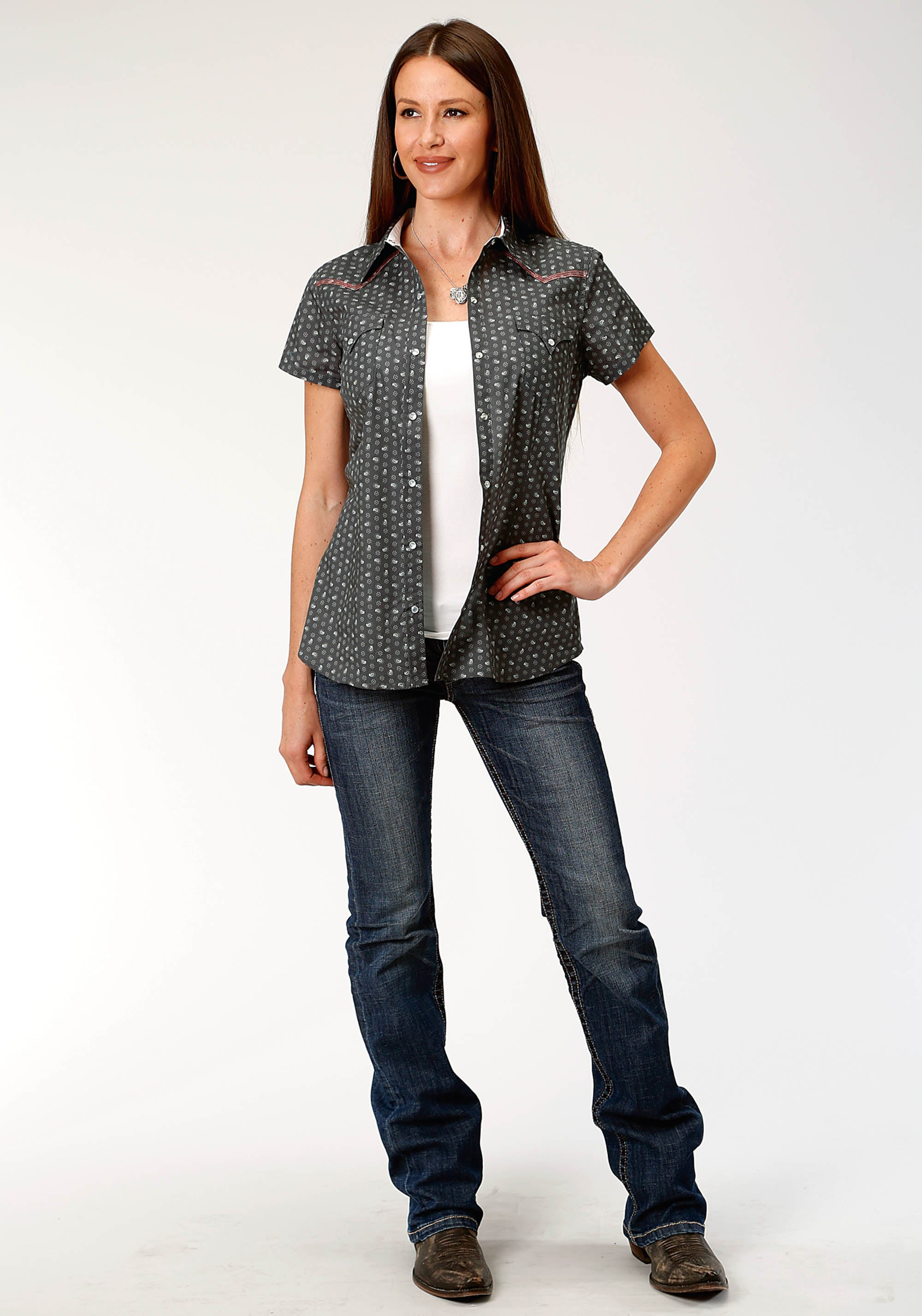 ROPER WOMENS GREY 3872 ASTRAL PAISLEY WEST MADE COLLECTION SHORT SLEEVE