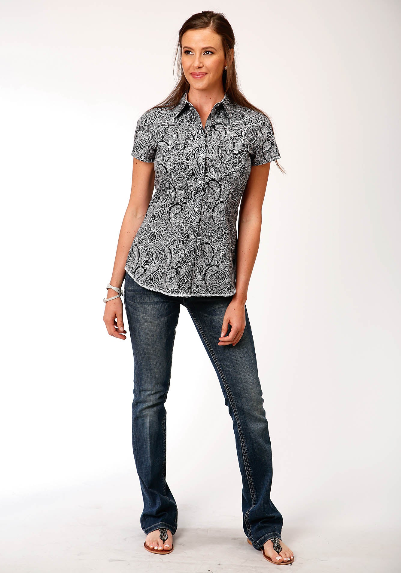 ROPER WOMENS BLACK 00186 BLACK PAISLEY WEST MADE COLLECTION SHORT SLEEVE