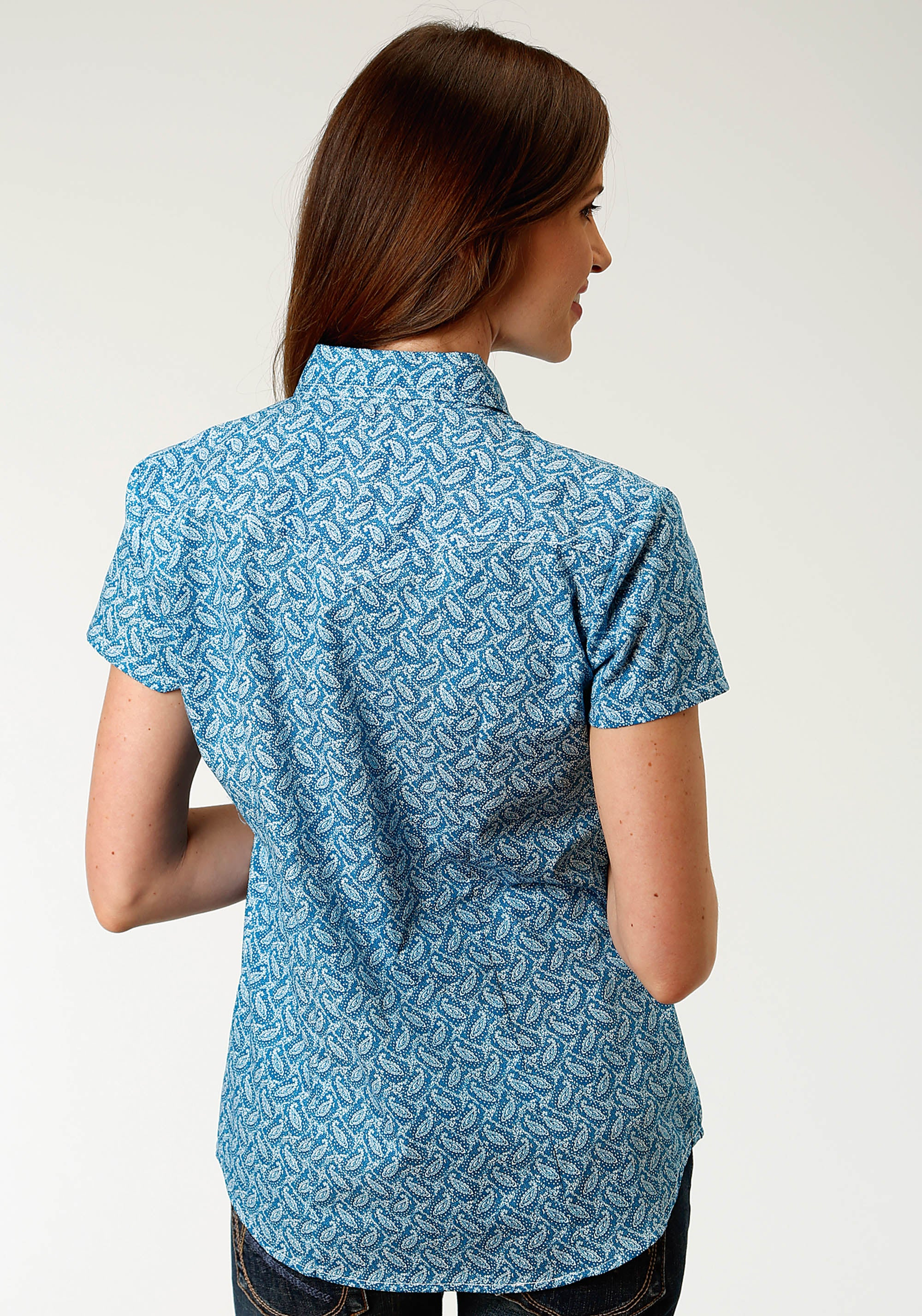 ROPER WOMENS BLUE 2435 VINTAGE DENIM PAISLEY LADIES AMARILLO COLLECTION- INDIGO BLUES SHORT SLEEVE