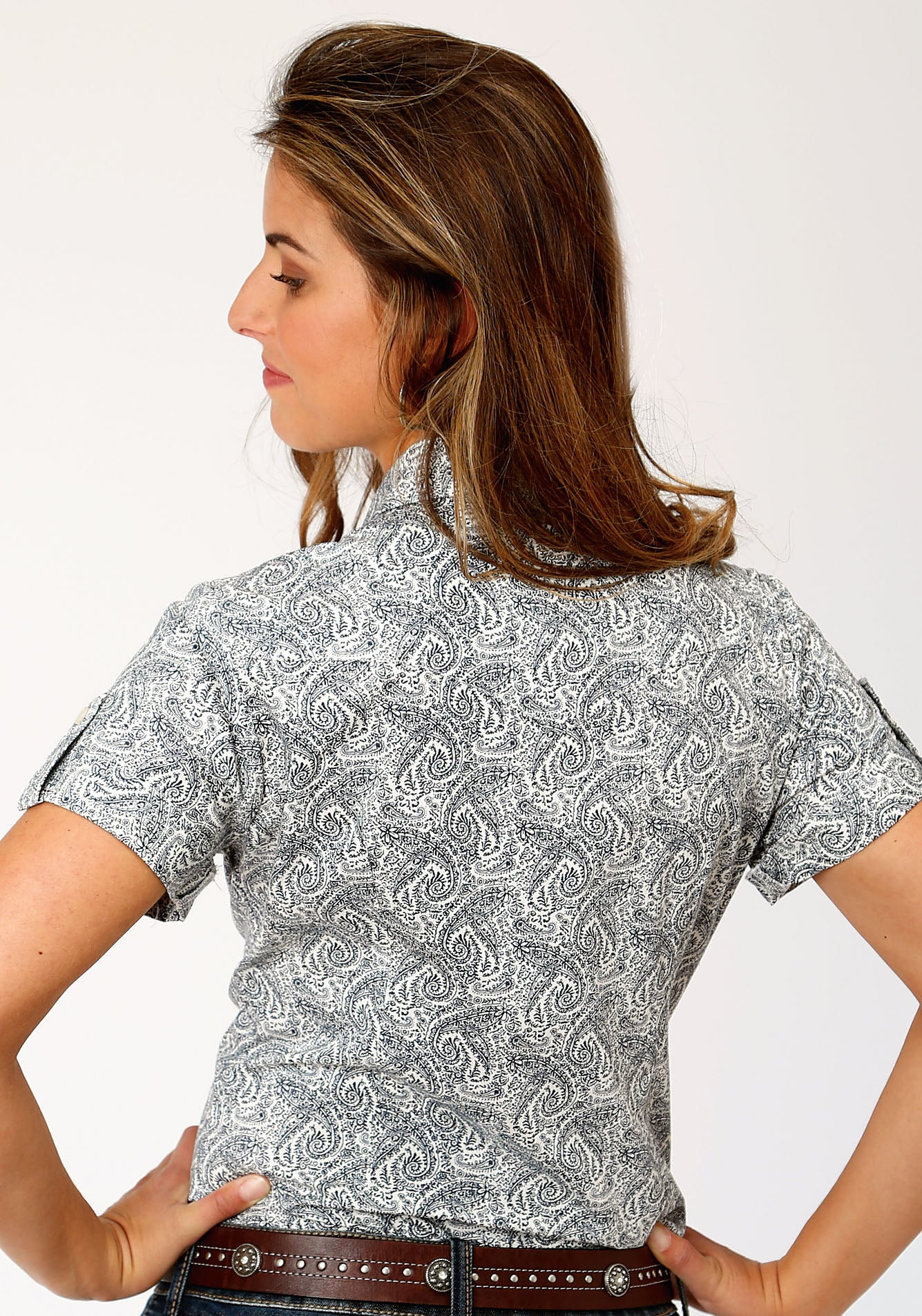 ROPER WOMENS BLUE 00023 GENTLEMAN'S PAISLEY LADIES AMARILLO COLLECTION- HERITAGE SHORT SLEEVE