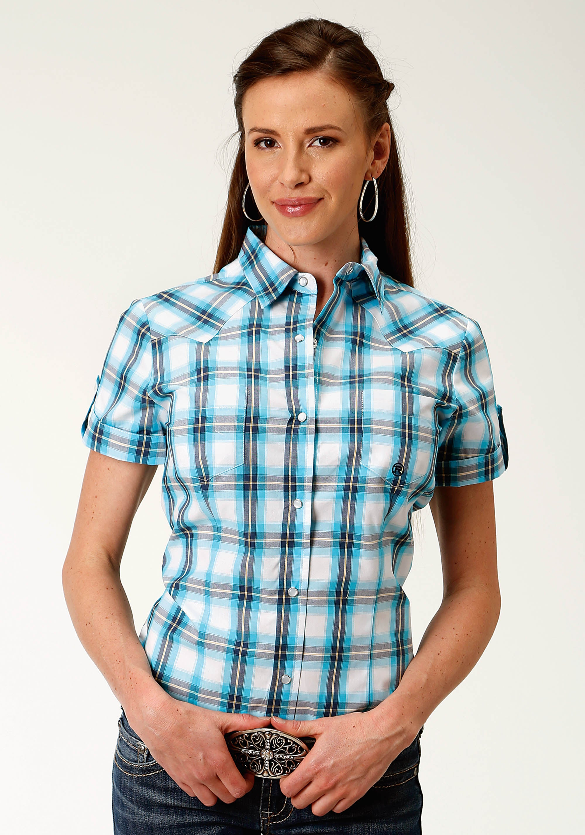 ROPER WOMENS BLUE 2450 BREEZE PLAID LADIES AMARILLO COLLECTION- CLEAR SKY SHORT SLEEVE