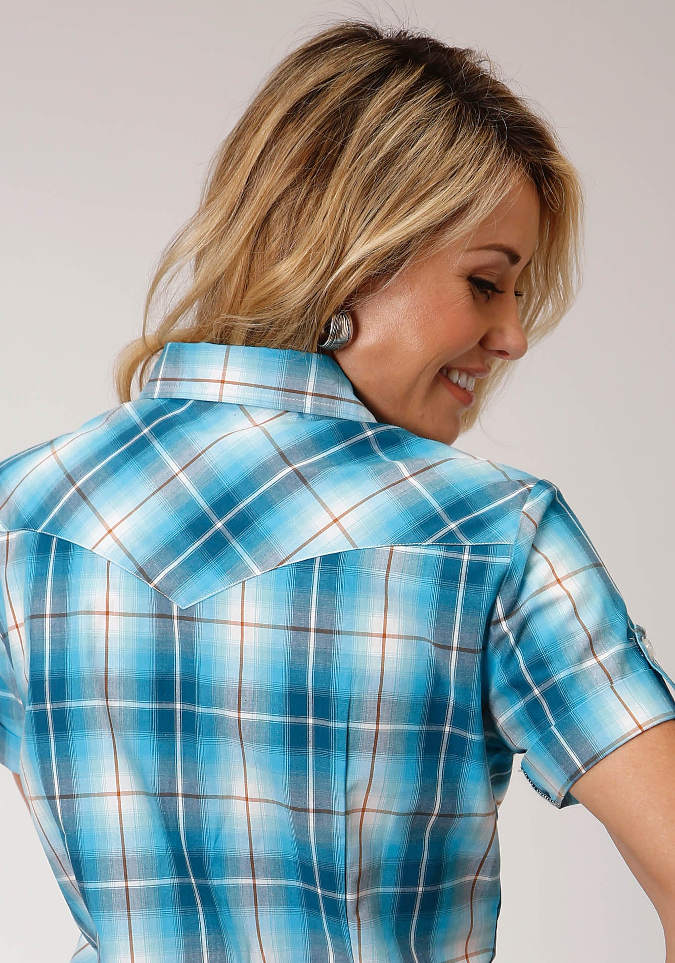 ROPER WOMENS BLUE 00163 BLUE MESA PLAID WOMEN'S AMARILLO COLLECTION - DESERT SKY SHORT SLEEVE