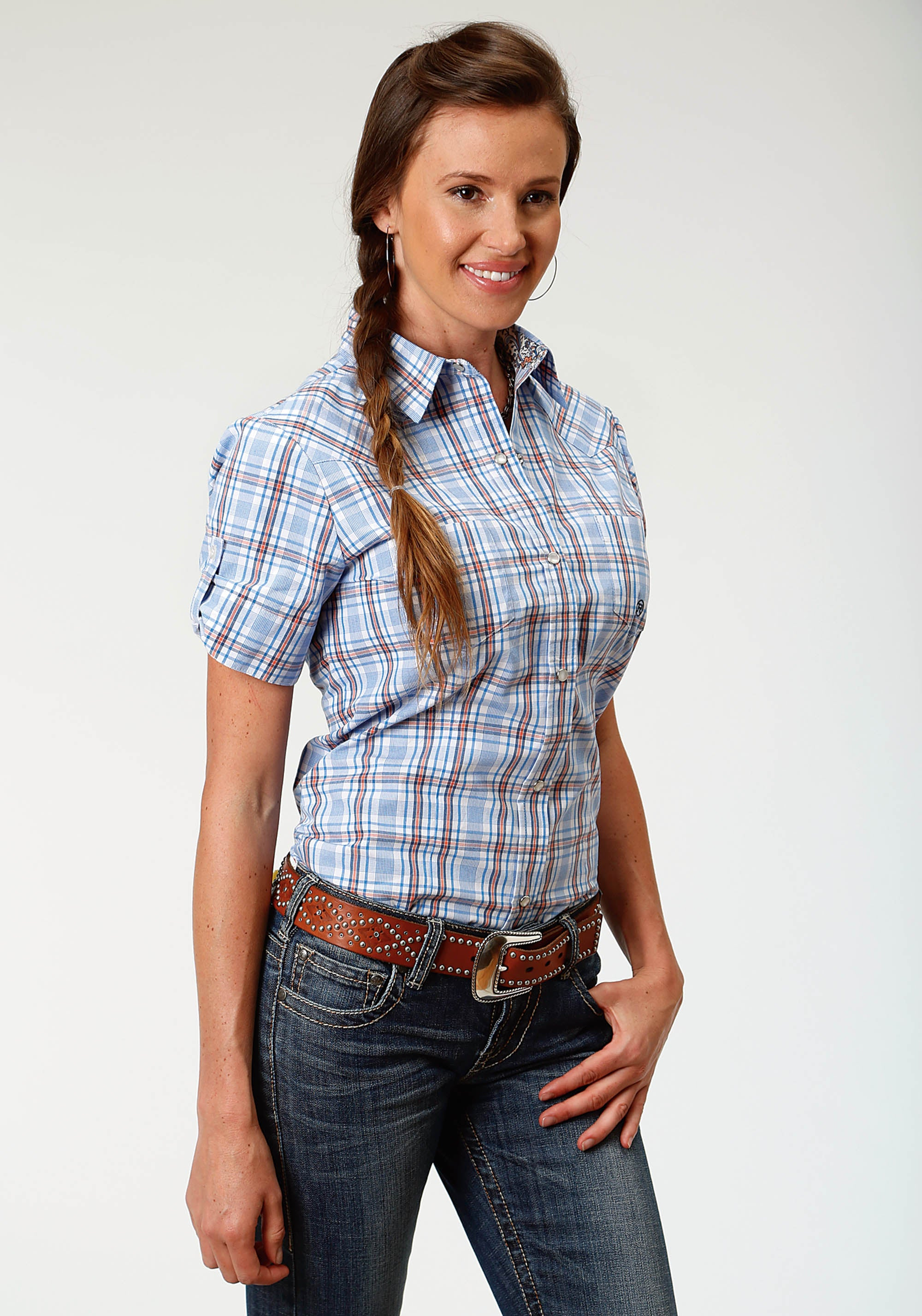 ROPER WOMENS BLUE 3288 MILES PLAID LADIES AMARILLO COLLECTION- DAY BREAK SHORT SLEEVE