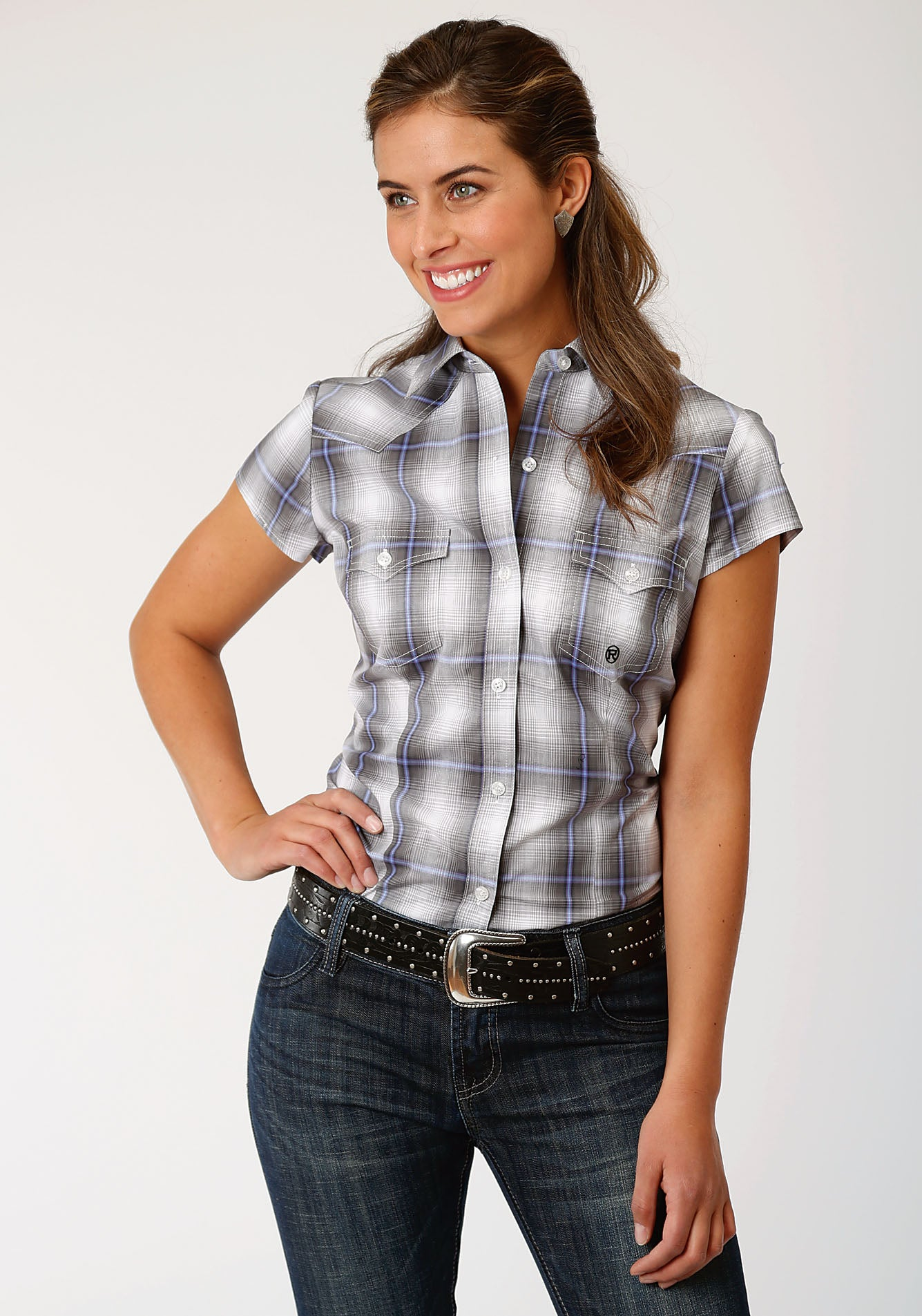 ROPER WOMENS GREY 00022 GRAY SHADOW PLAID LADIES AMARILLO COLLECTION- DUSK SHORT SLEEVE