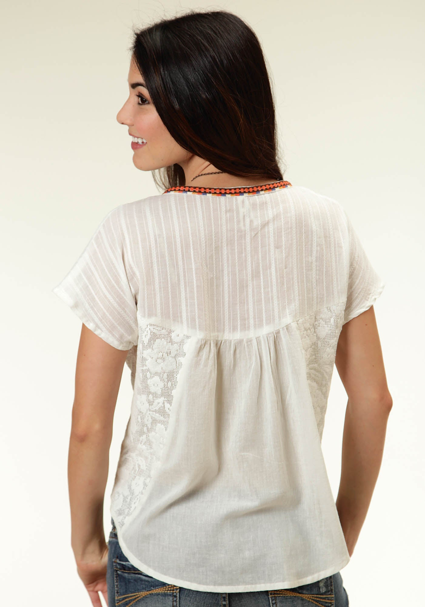ROPER LADIES WHITE 0353 COTTON GAUZE PEASANT BLOUSE FIVE STAR- SPLASH OF COLOR SHORT SLEEVE SHIRT