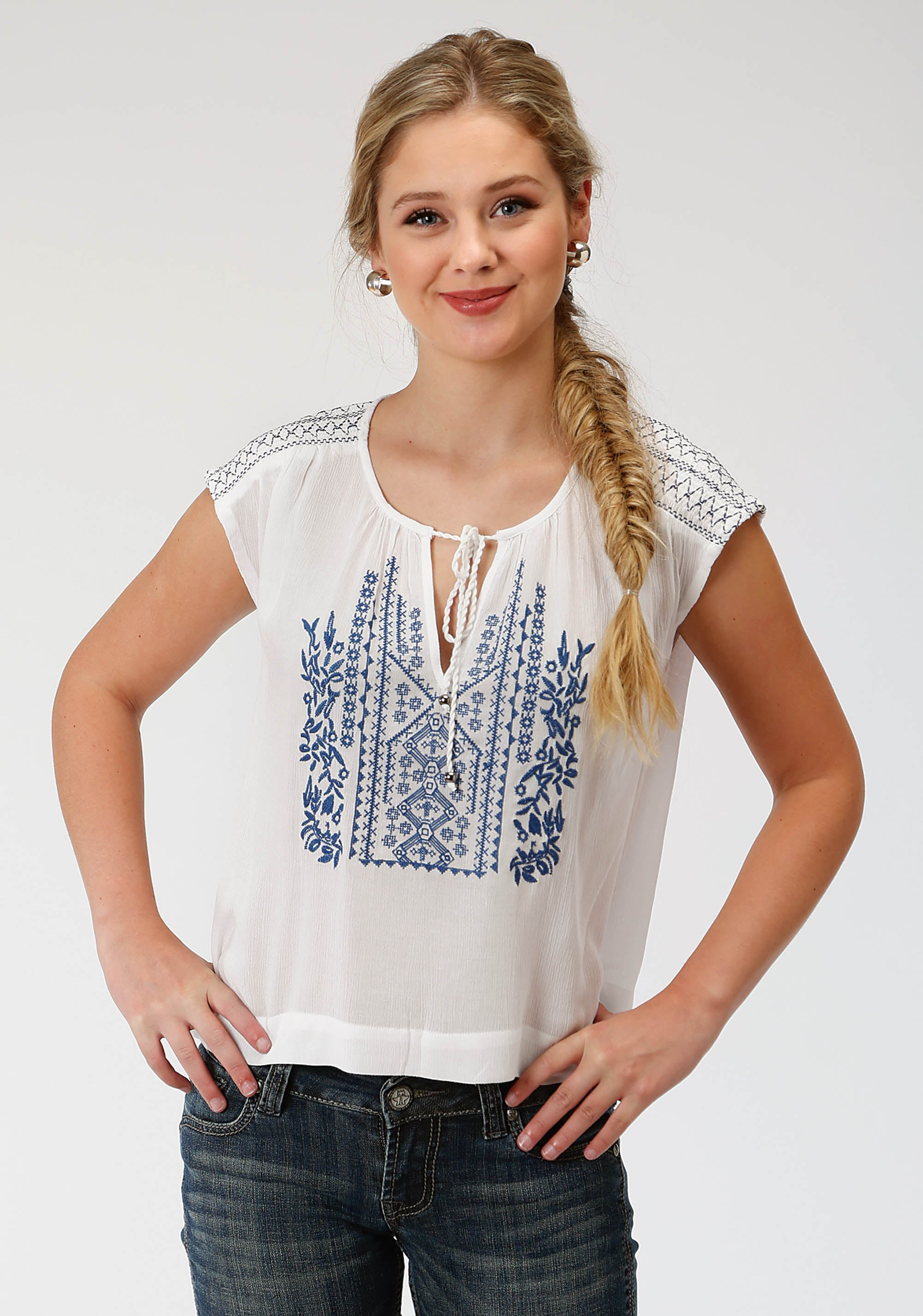 ROPER WOMENS WHITE 9317 BLENDED CREPE SS TOP FIVE STAR COLLECTION- SUMMER II SHORT SLEEVE