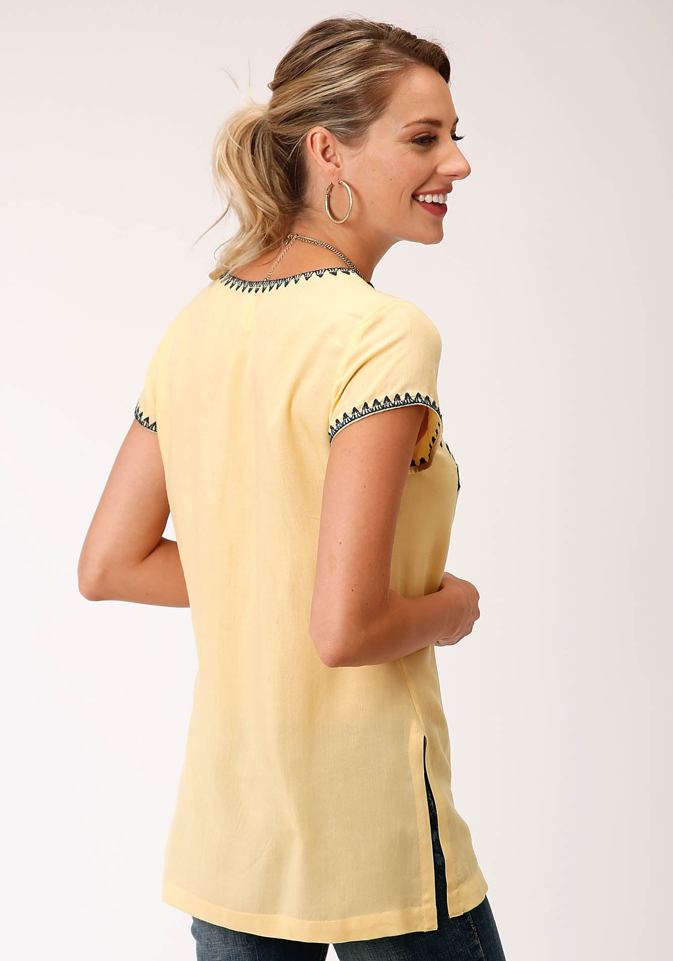 ROPER WOMENS YELLOW 00176 RAYON CHALLIS V NECK TUNIC STUDIO WEST- SUMMER SOLSTICE SHORT SLEEVE