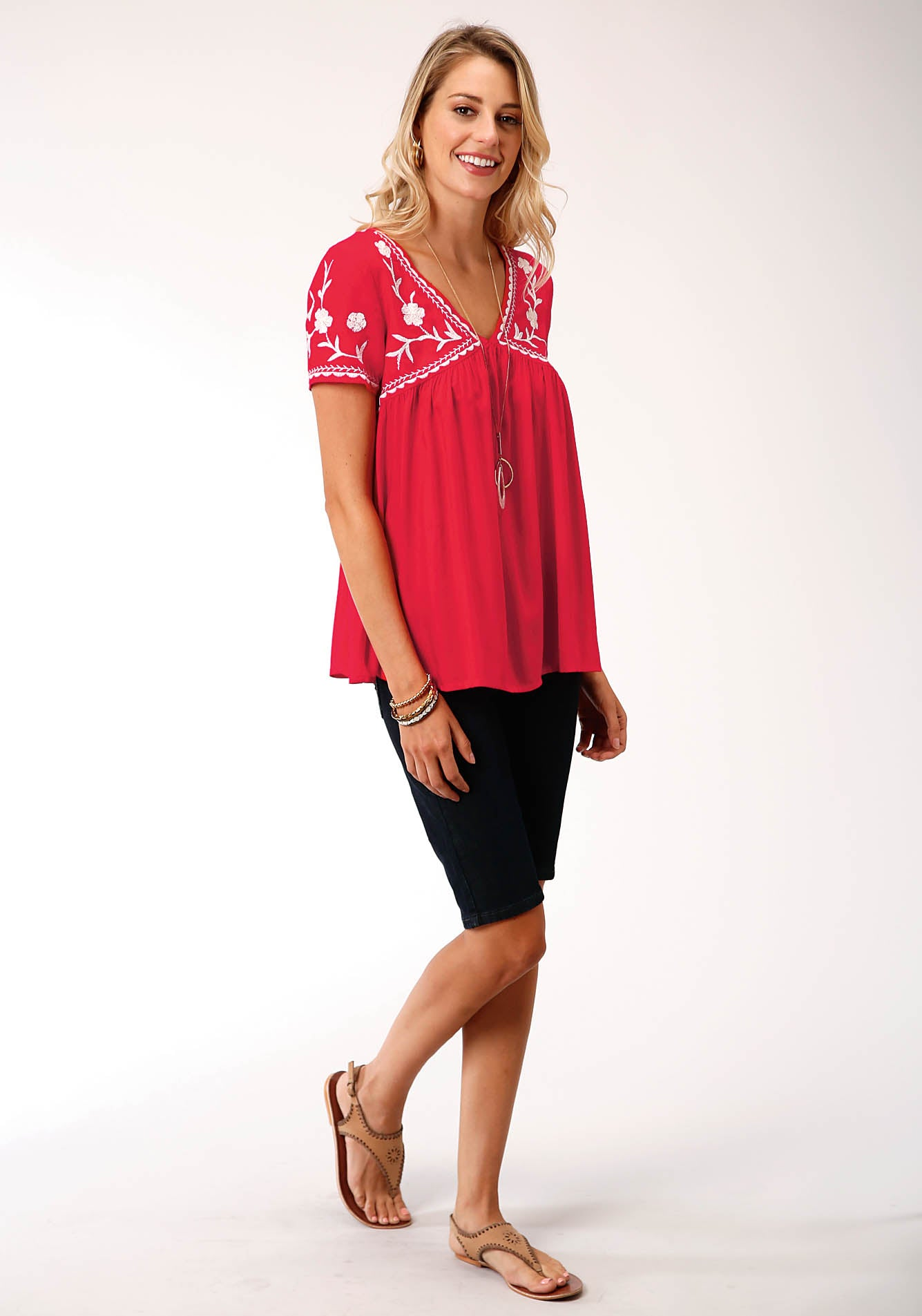 ROPER WOMENS RED 00176 RAYON CHALLIS PEASANT BLOUSE STUDIO WEST- WILD BLOSSOMS SHORT SLEEVE