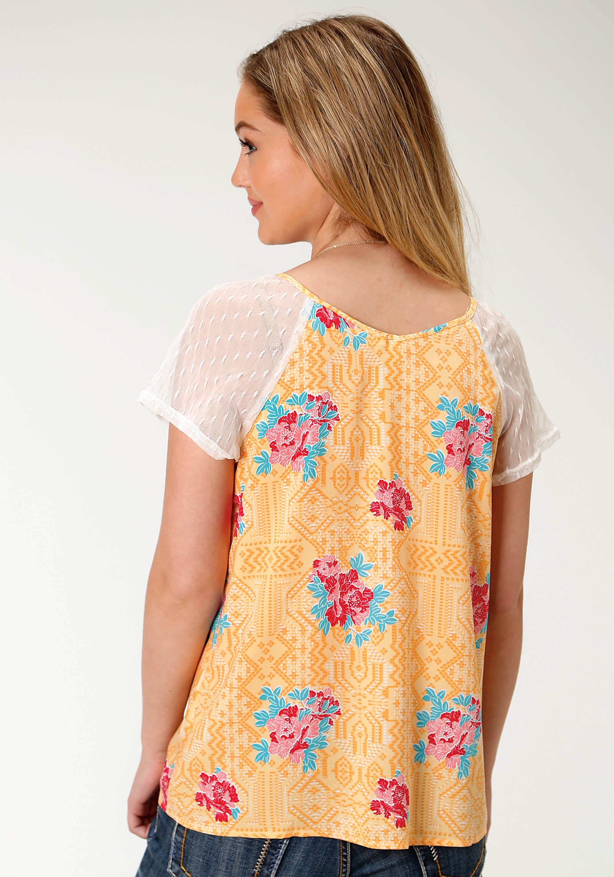 ROPER WOMENS YELLOW 2749 SPRING FLORAL SS PEASANT BLOUSE FIVE STAR COLLECTION- SPRING I SHORT SLEEVE