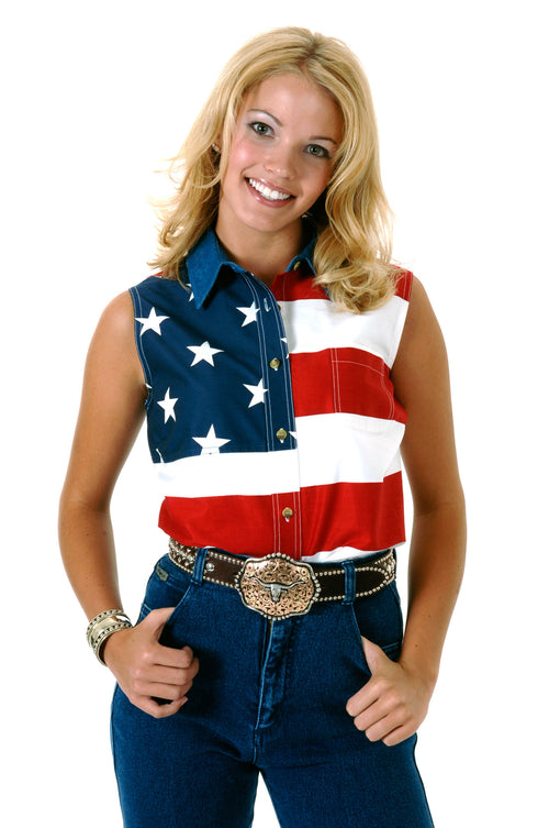 ROPER LADIES RED STARS & STRIPES PIECED AMERICAN FLAG DENIM COLLAR * STRAIGHT BACK YOKE * PIECED TWILL FABRICS WITH U.S.A FLAG PRINT SLEEVELESS SHIRT