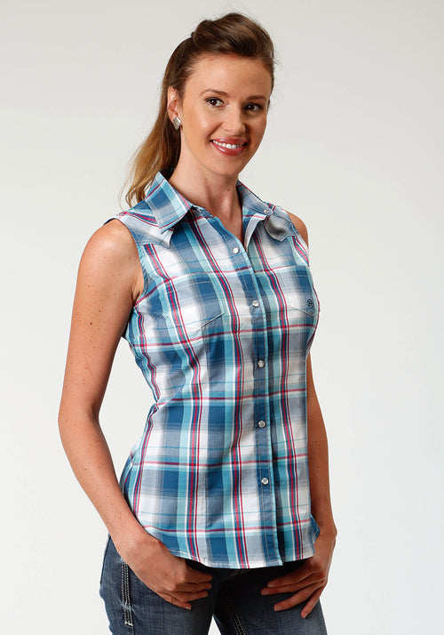 ROPER WOMENS BLUE 3337 LOYAL PLAID LADIES AMARILLO COLLECTION- TRUE BLUE SLEEVELESS