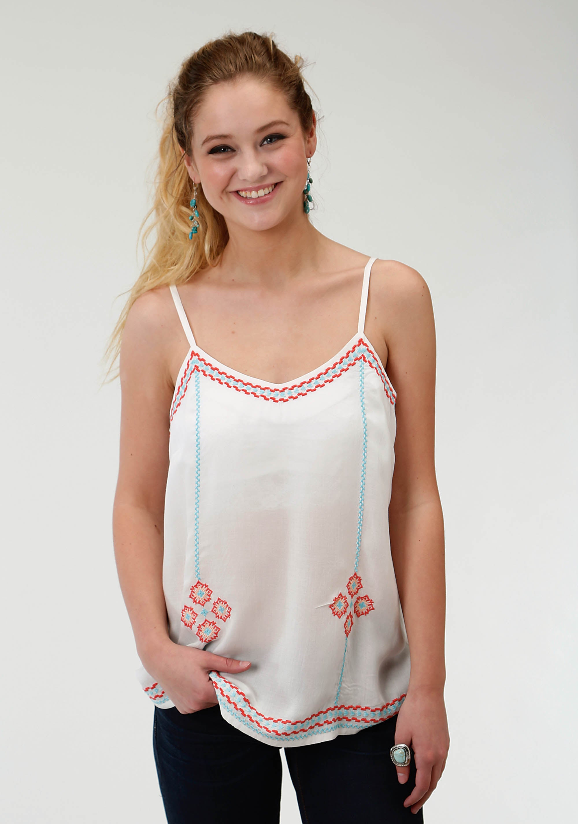 ROPER WOMENS WHITE 1623 WHITE RAYON TANK W/EMBROIDERY FIVE STAR- SPRING III SLEEVELESS SHIRT