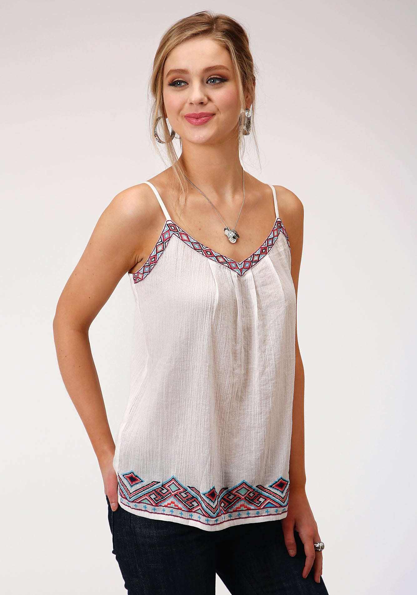 ROPER WOMENS WHITE 00127 COTTON CREPE SPAGHETTI STRAP TOP FIVE STAR COLLECTION- SPRING II SLEEVELESS
